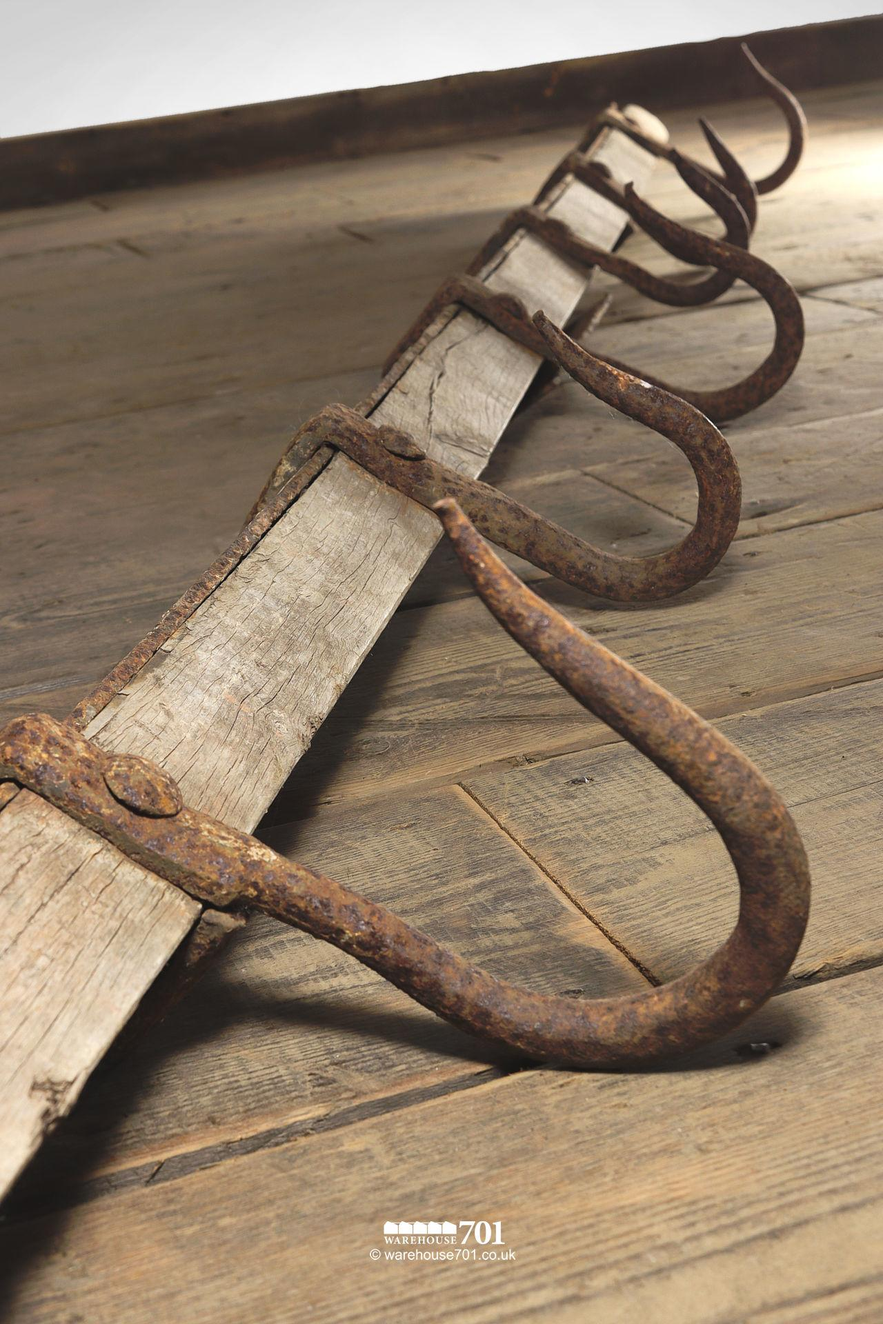Rare and Complete Set of Large Antique Meat Hooks on an Oak Rack