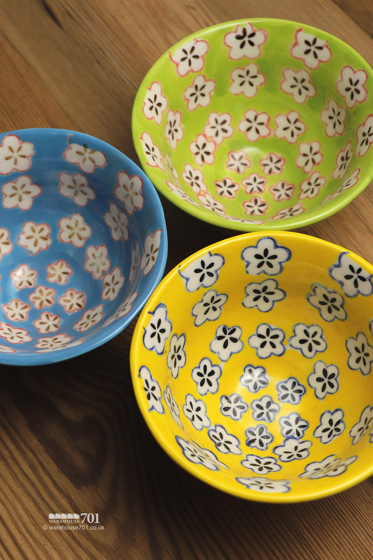 Yellow, Green and Blue Small Petal Bowls or Dishes