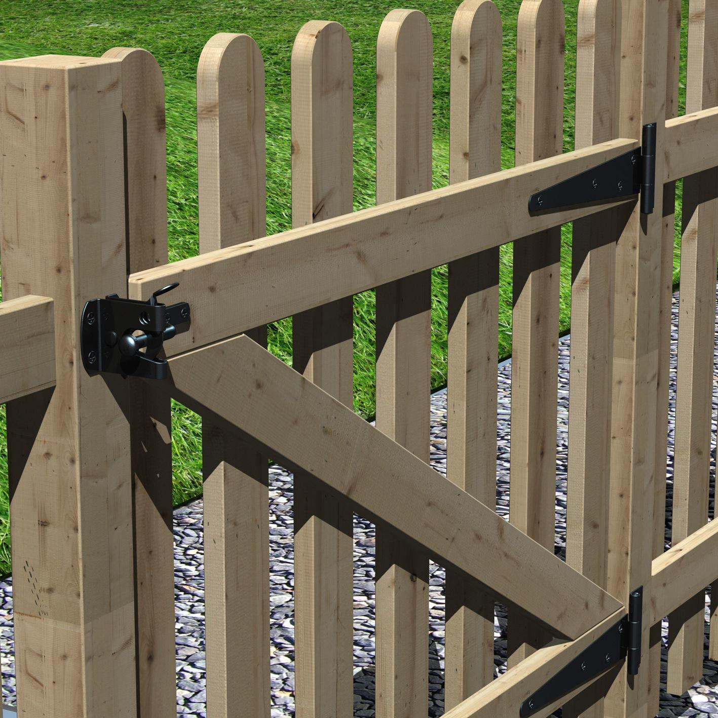Pallisade Wood Gate with Rounded Pickets #2