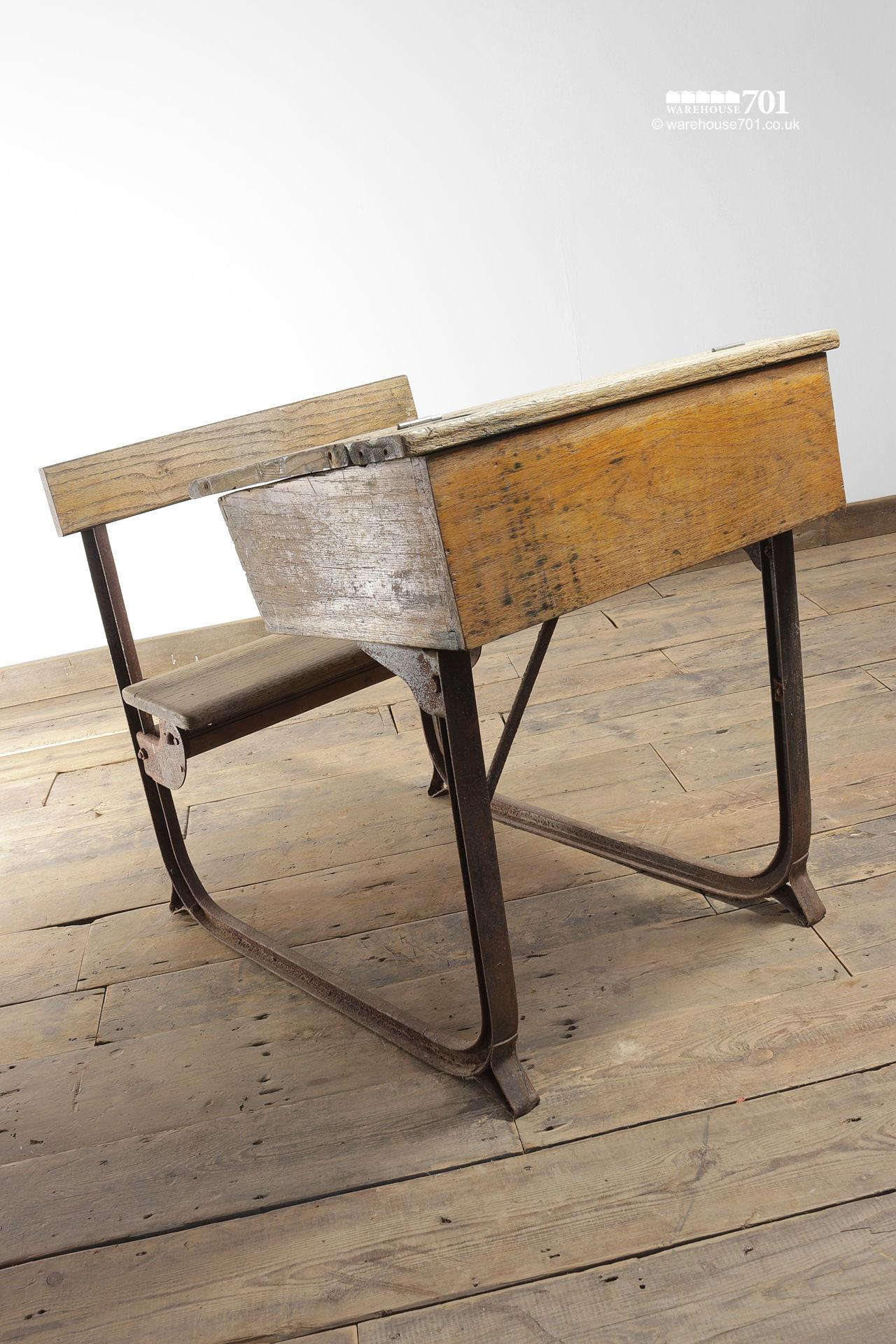 Reclaimed Wooden Childs School Desk and Seat #7