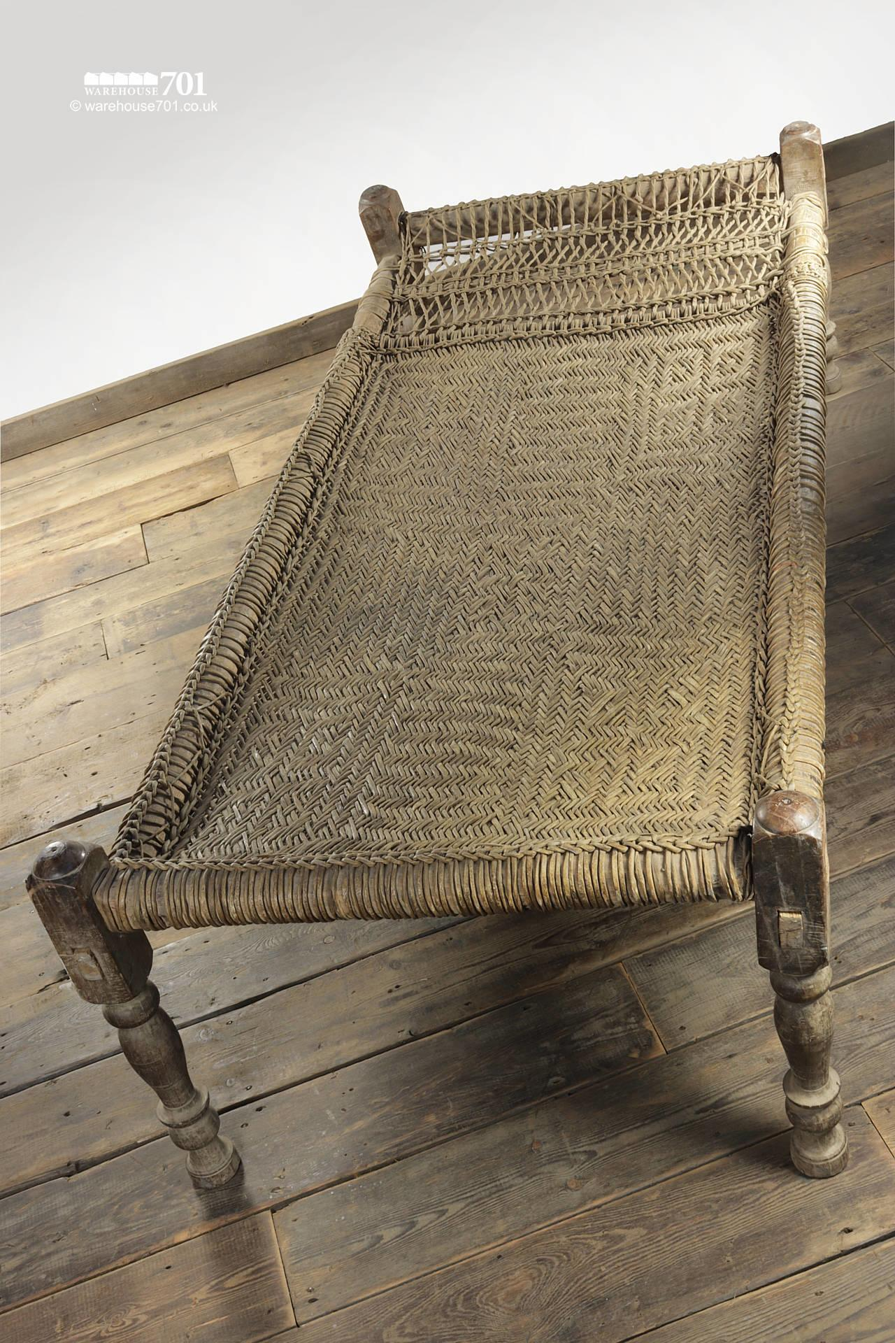 Decorative Wood and Woven Rattan Bed #3