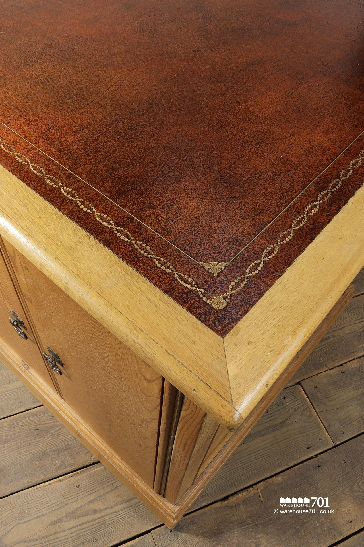 Extra Large Leather Top Home Office Desk #5