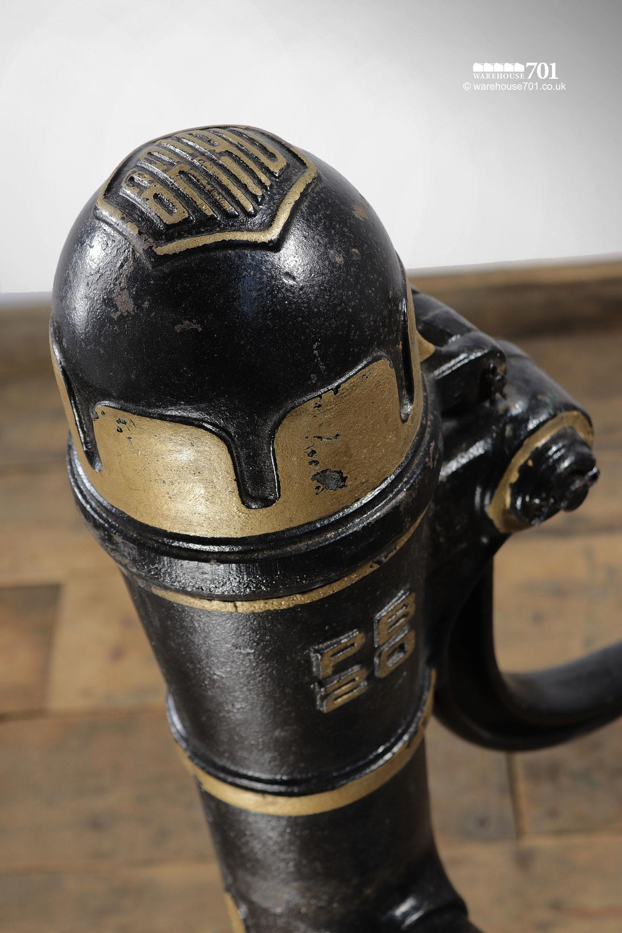 Salvaged Gold and Black Cast Iron Water Pump #5