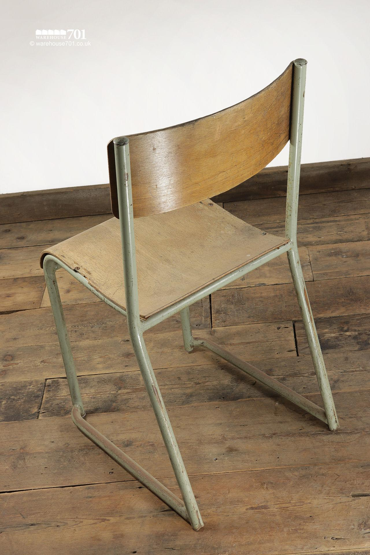 Vintage Sage Green Tubular Steel and Ply Stacking Chairs #4