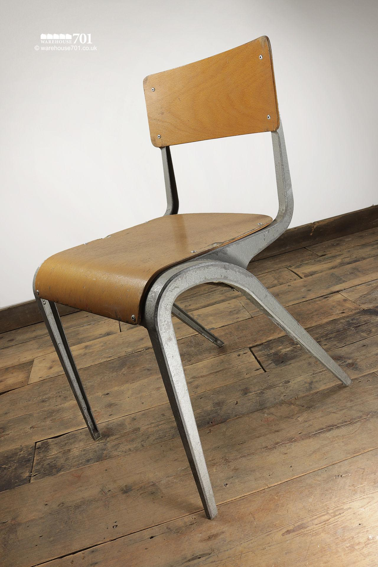 Vintage 1950s Esavian Alloy & Ply Stacking Chairs #3