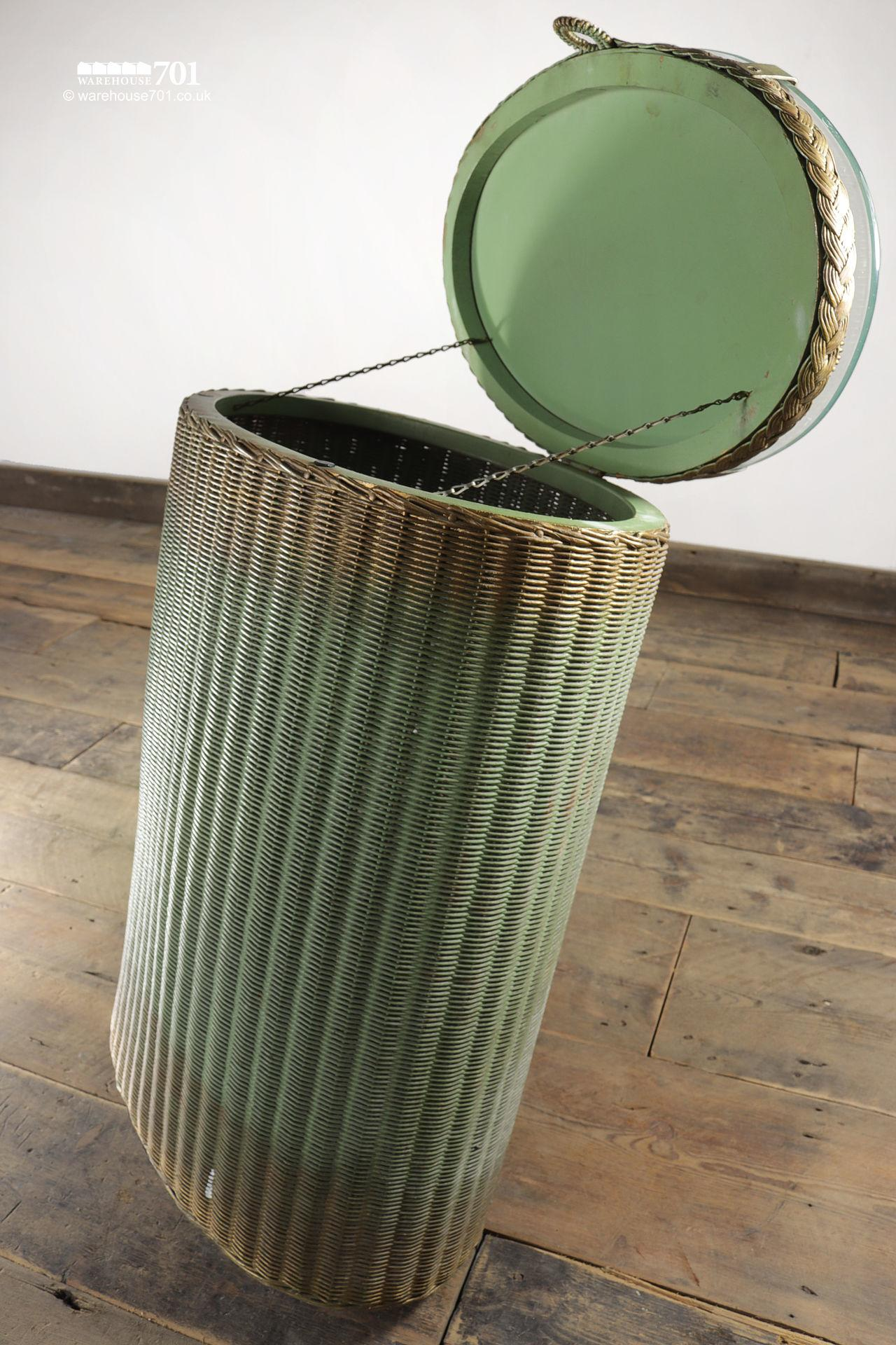 Vintage Elliptical Green Gold Glass Top Laundry Basket