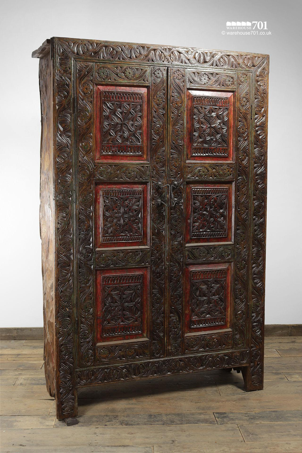 Grand Hand-Carved Wood Armoire or Cupboard