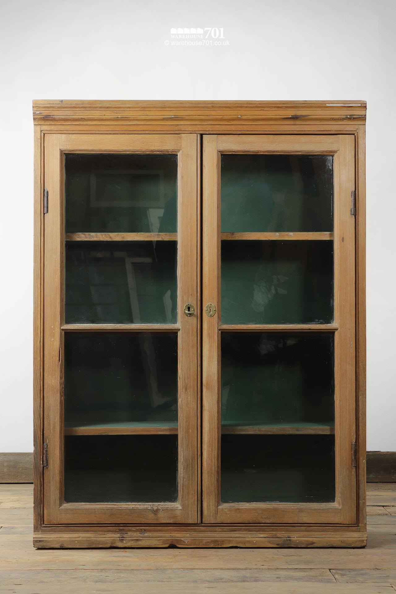 Green Interior Antique Pine Glazed Display Cabinet