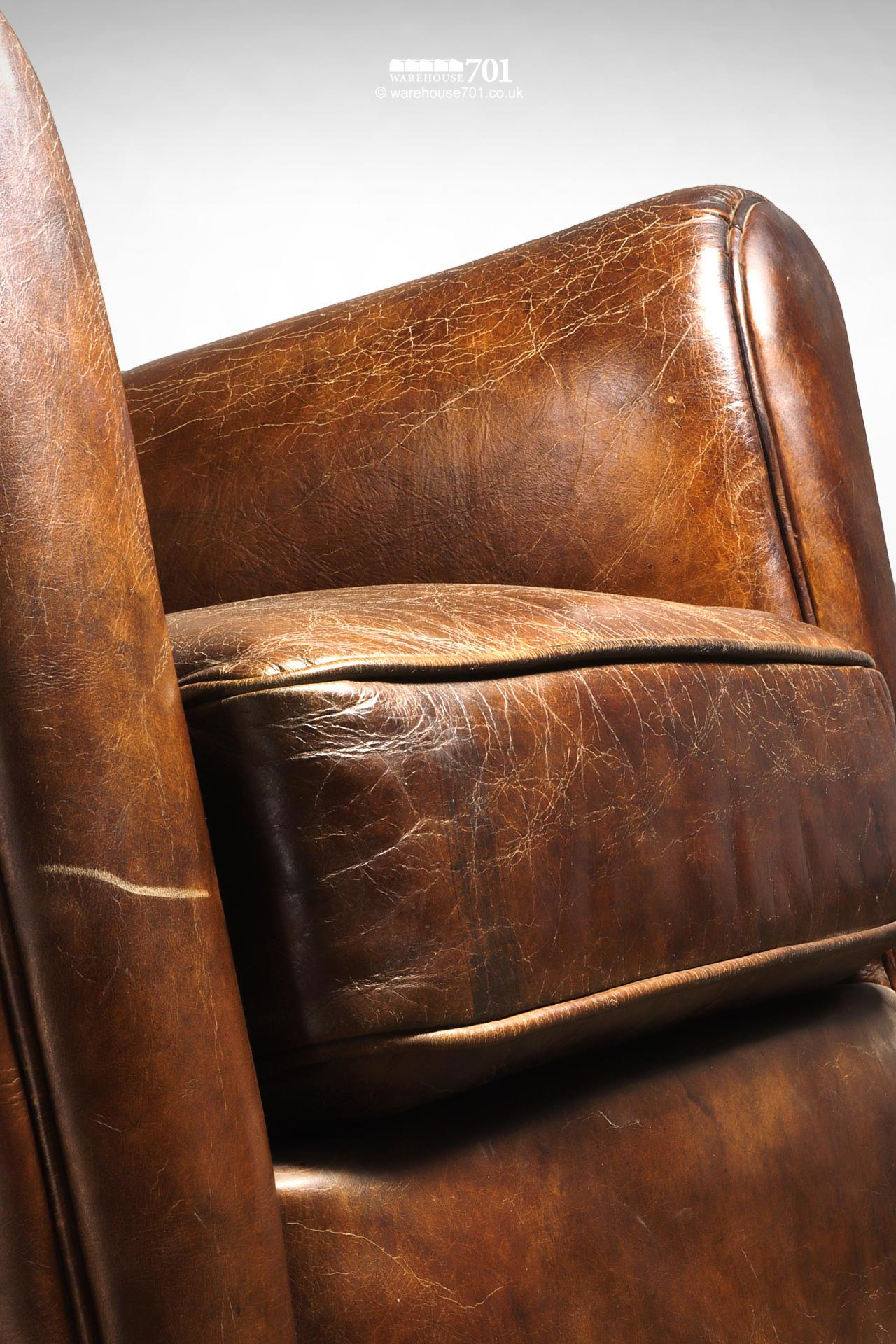 Beautifully Pre-Aged Tan Leather Armchair with Rounded Arms and Back