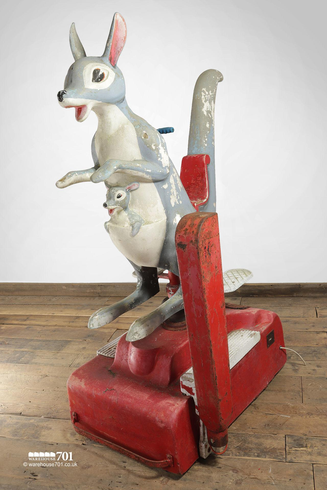 Salvaged Coin Operated Kangaroo and Joey Childrens Fun Ride #4