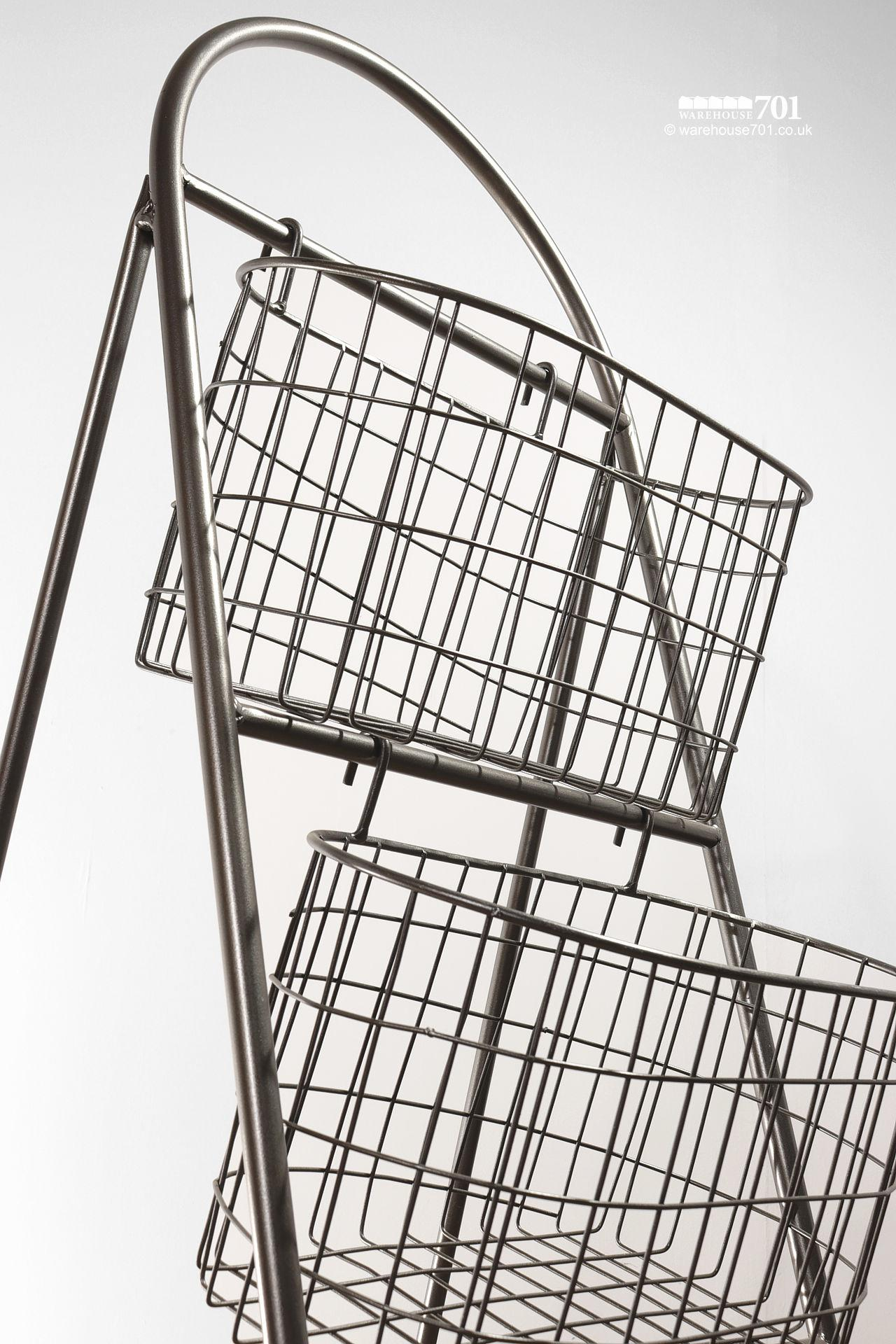 NEW Collapsible Wire Mesh Triple Basket Storage Rack or Stand #4