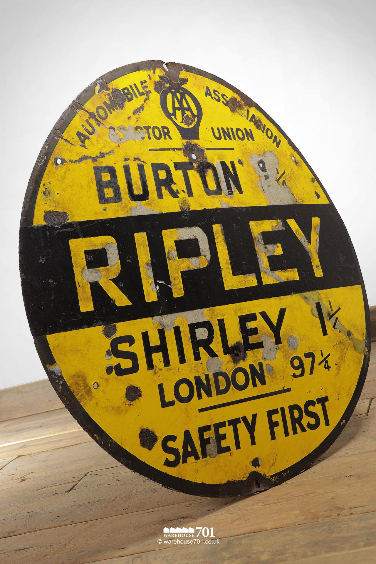 Rare Reclaimed Round Metal Yellow and Black Ripley AA and Motor Union Road Sign #4