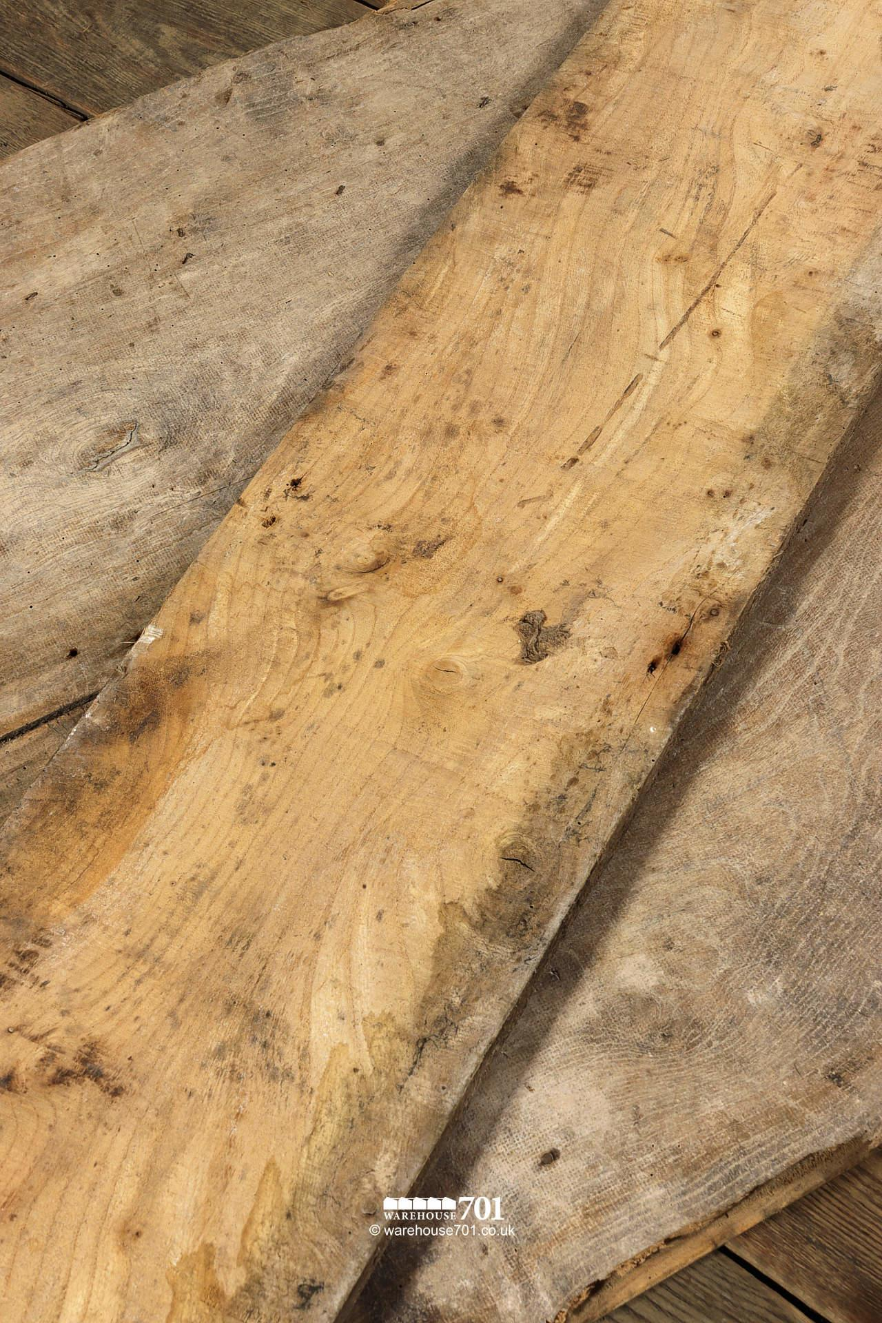 "10m² Stunning All Original Salvaged 18th Century 15"" Wide Board Elm Floor #6"