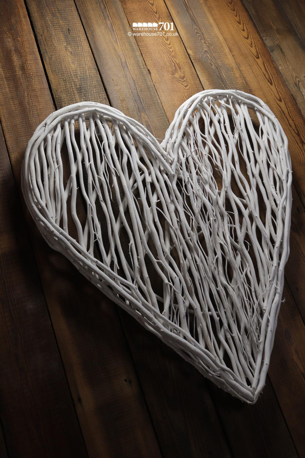 New Large Organic White Painted Stick Heart Wall Display
