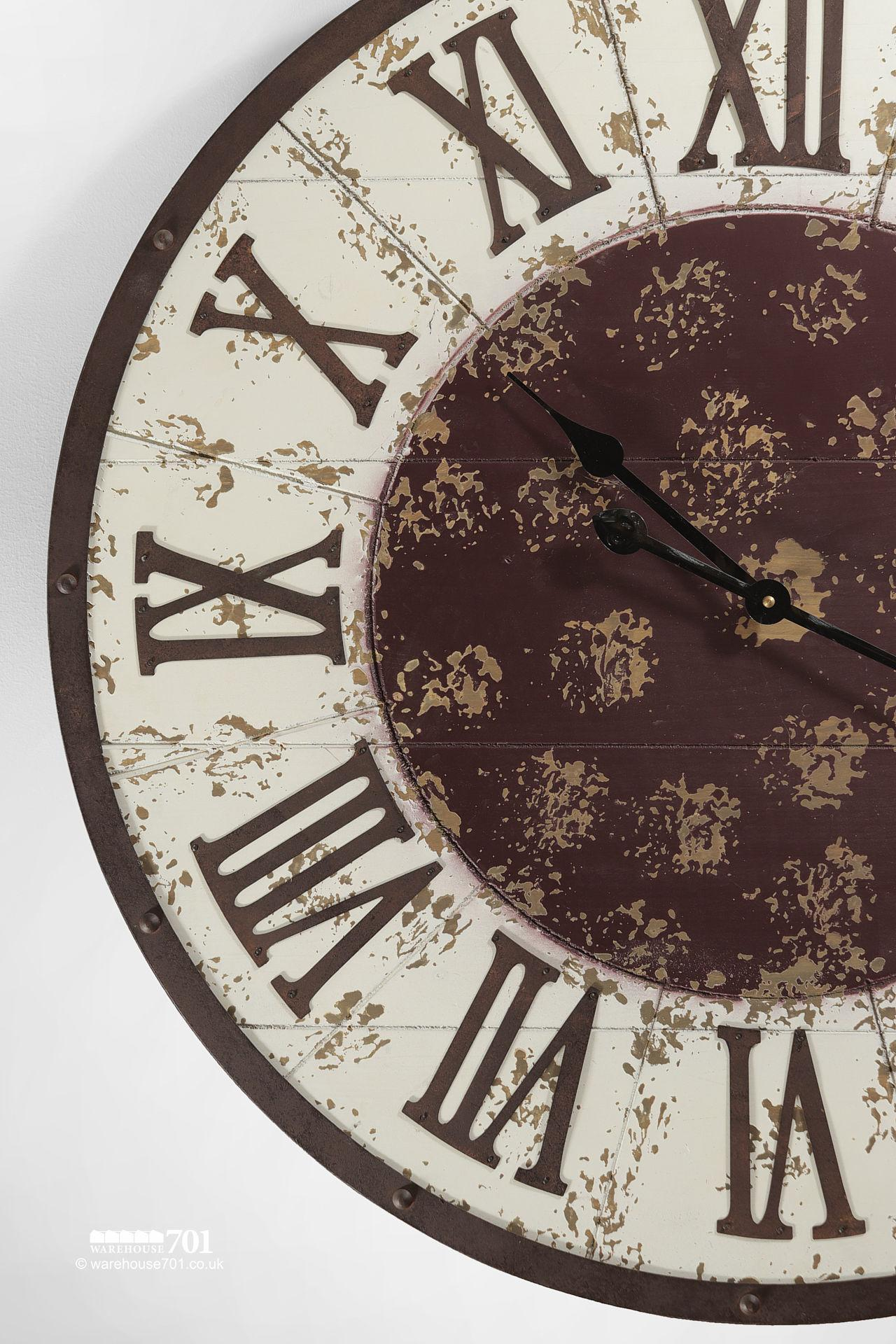 NEW Large White and Brown Vintage Style Wall Clock #6
