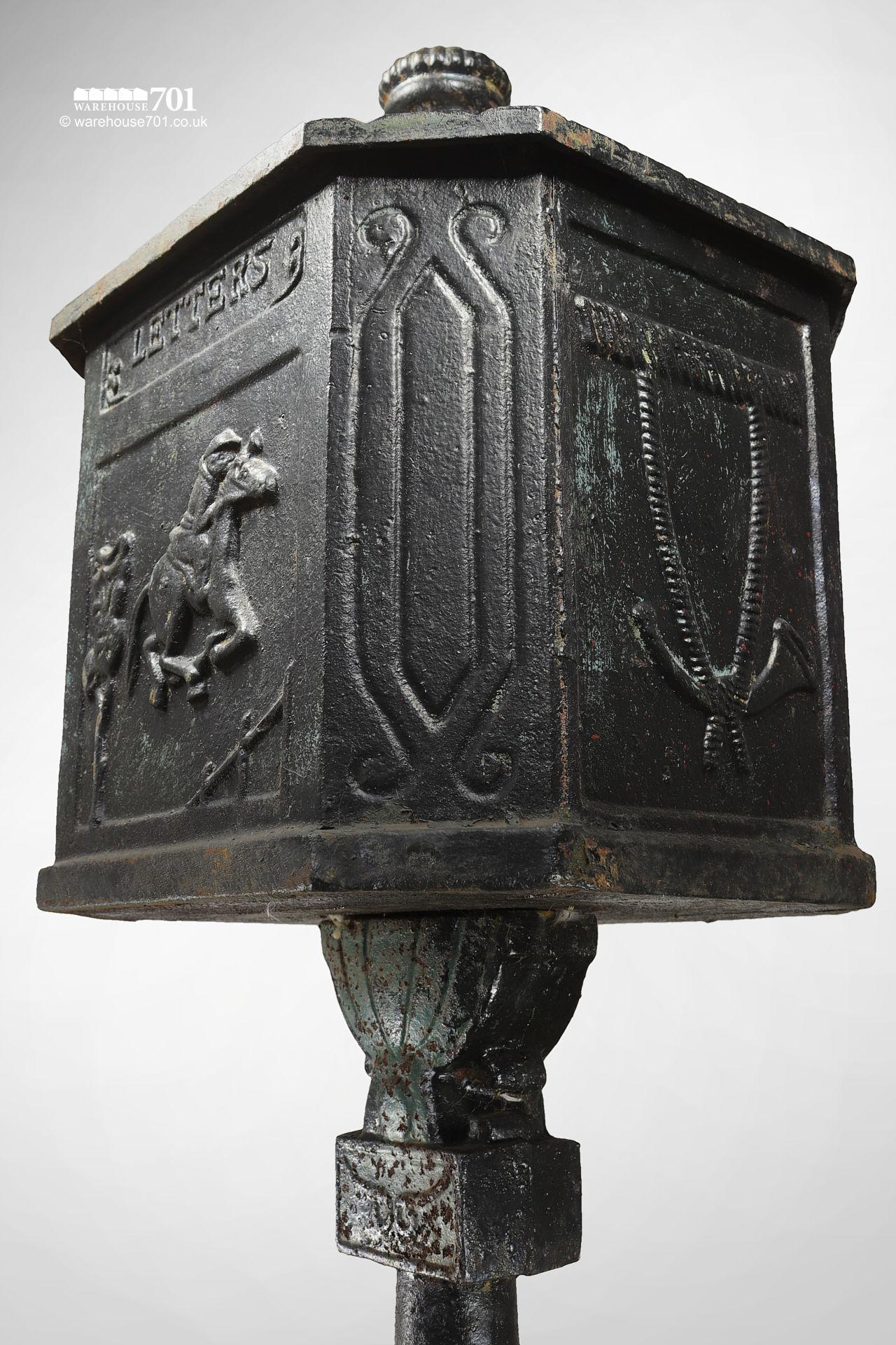 Salvaged Cast Iron Letterbox or Post Box on a Plinth #3