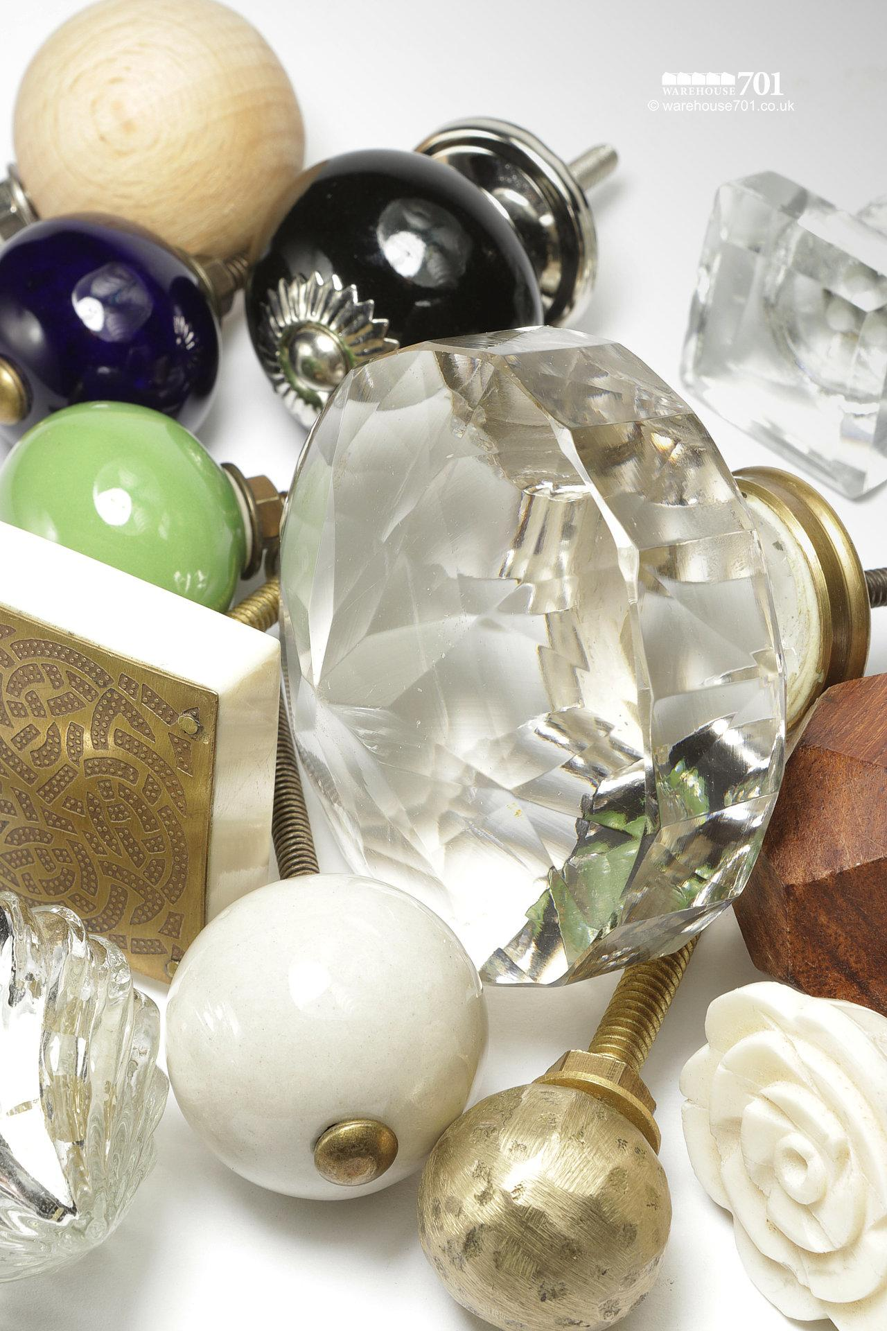 New Large Faceted Glass Door or Drawer Knob #4