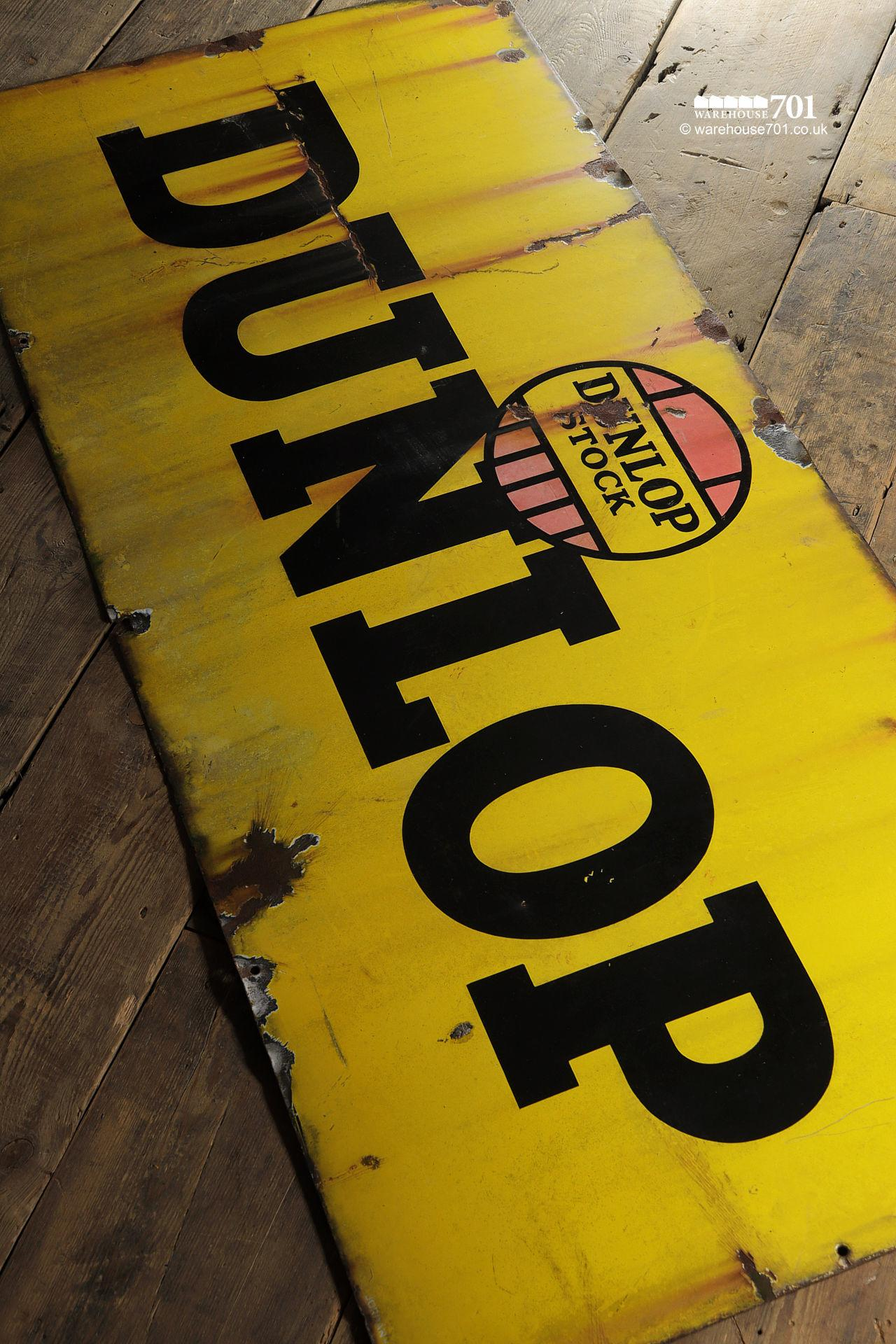 Old Metal Single Sided Yellow Enamel Dunlop Stock Sign