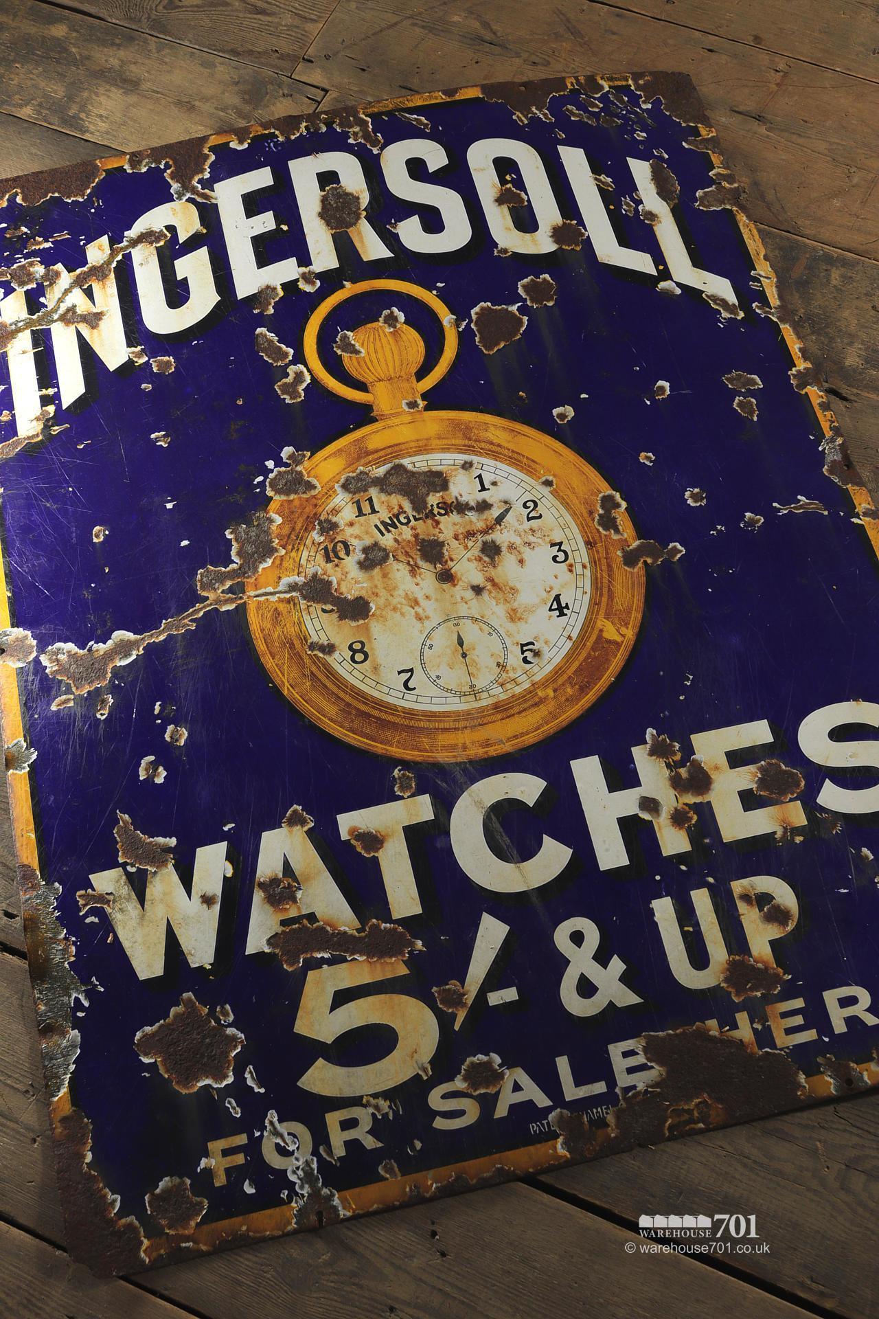 Salvaged Blue Enamel Ingersoll Watches Single Sided Sign