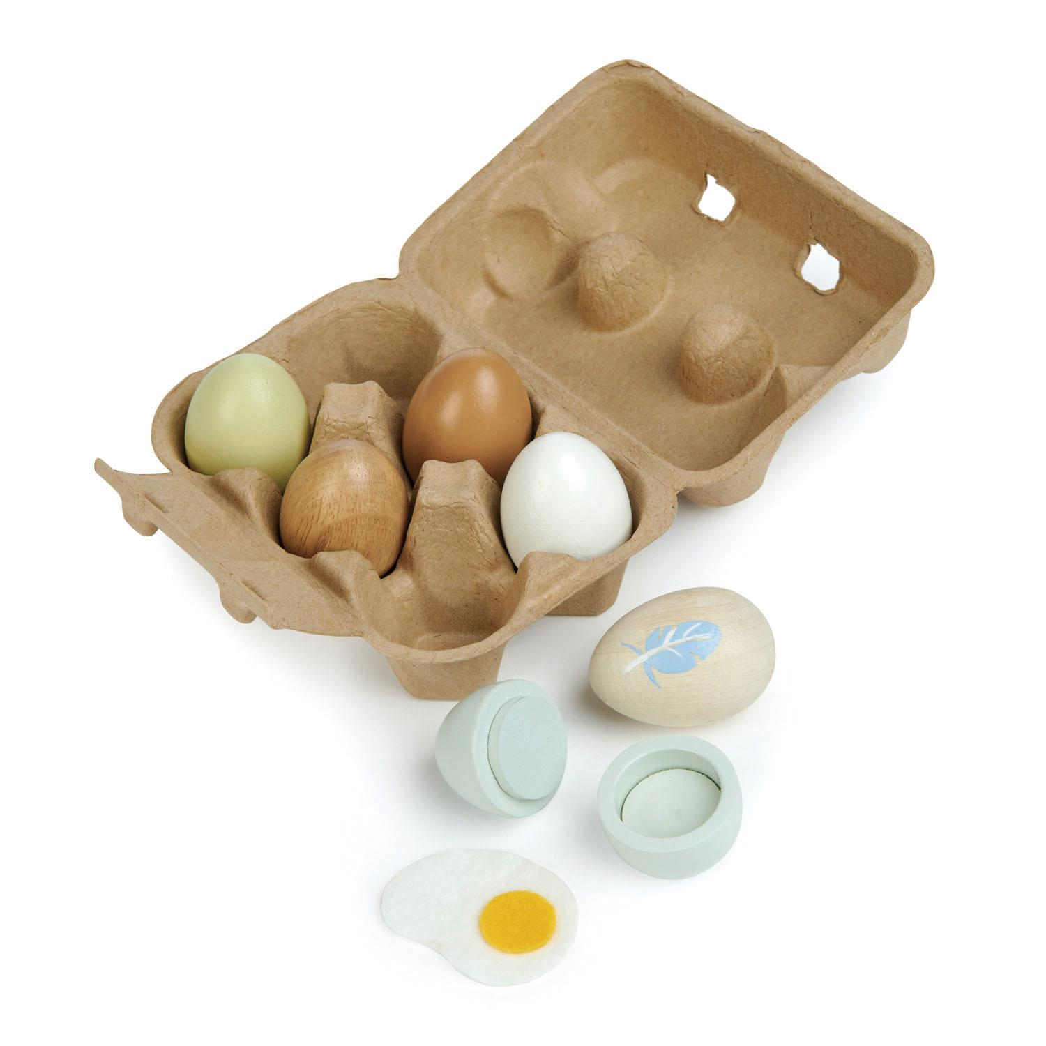New Authentic Egg Box with 6 Assorted Wooden Play Eggs #4