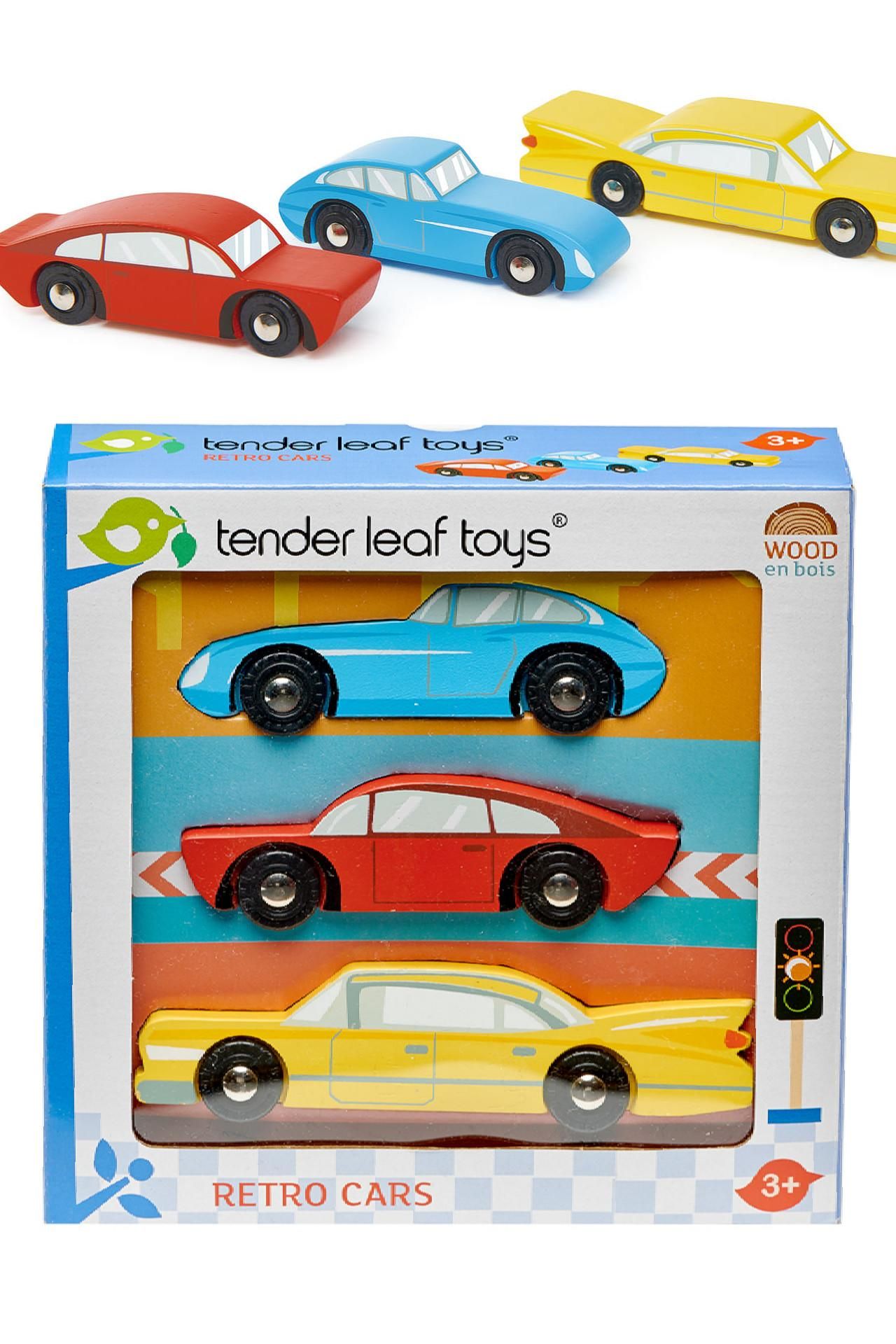 New Stylish Wooden Retro Toy Cars - Set of 3 in Red, Blue and Yellow