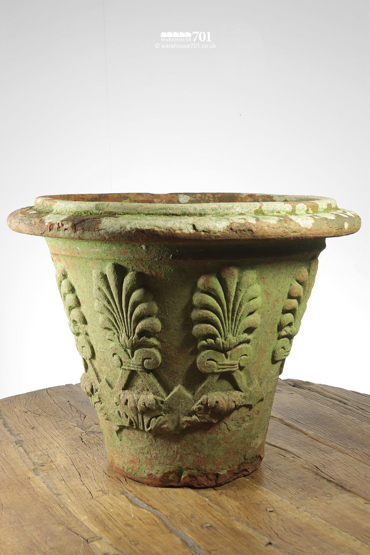Old and Rare Large Terracotta or Clay Fern Pattern Planter or Pot #5