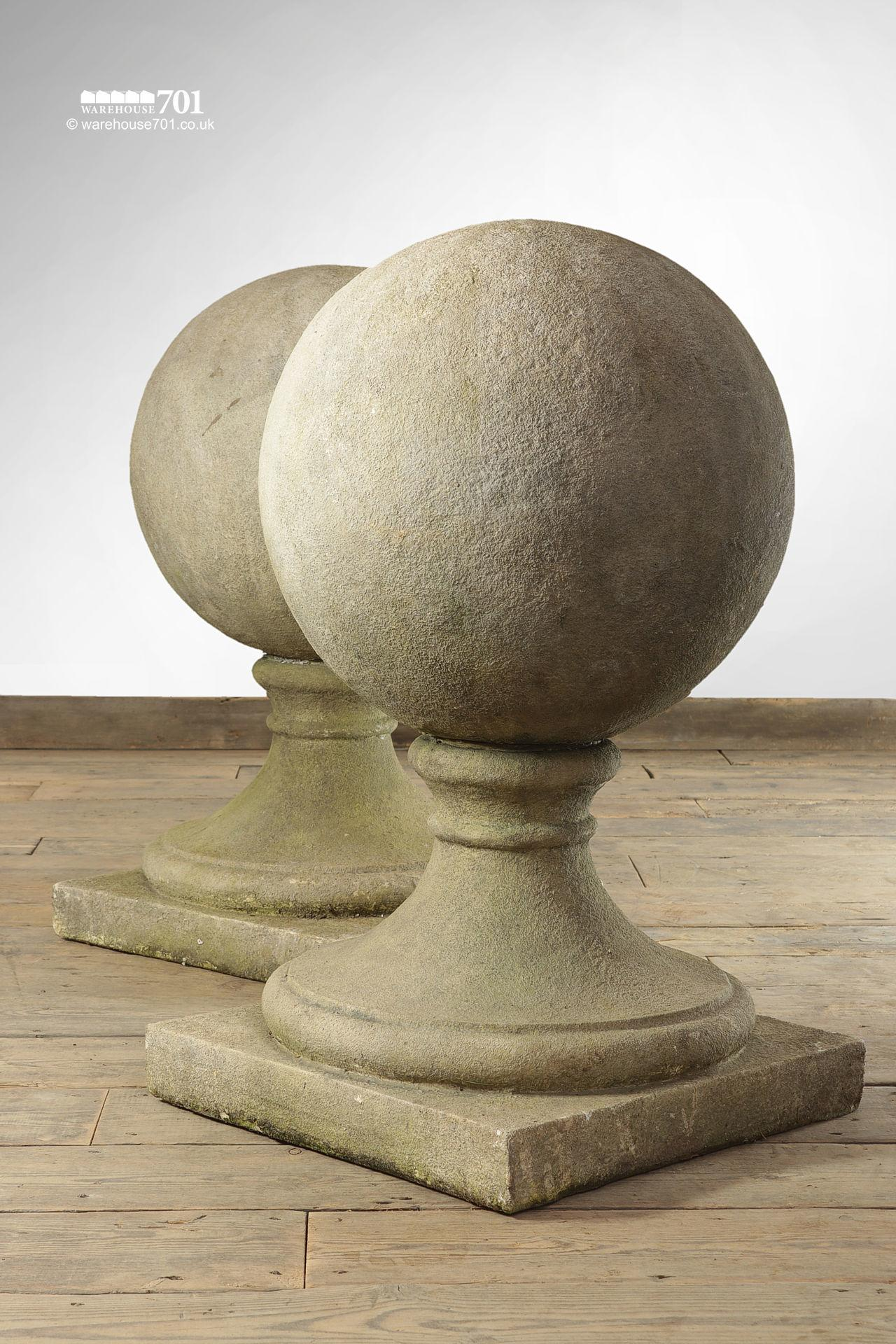 Impressive Pair of Large Stone Spheres or Ball Pier Caps with Decorative Bases