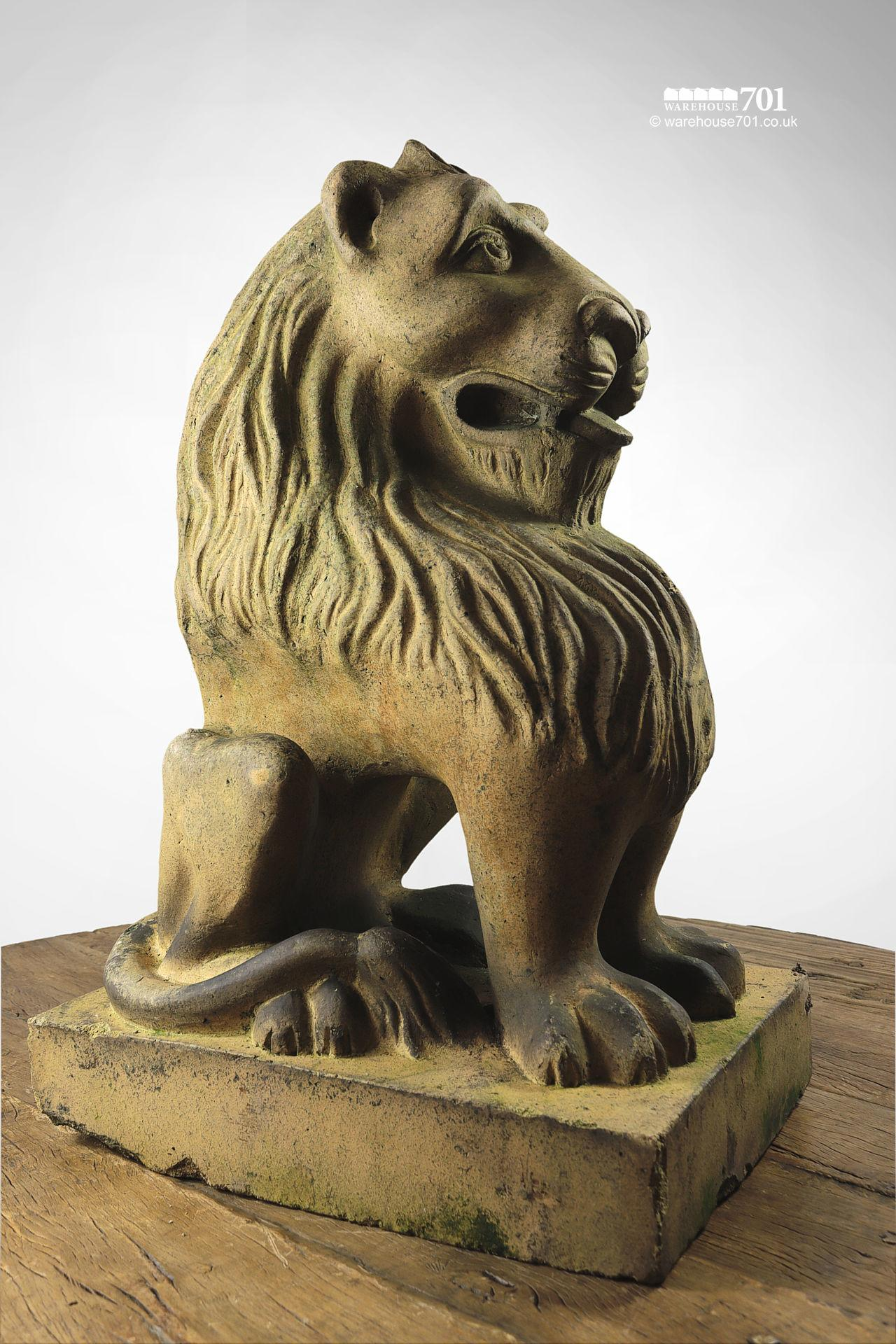 Beautiful Salvaged Ornamental Terracotta Stylised Lion Figure