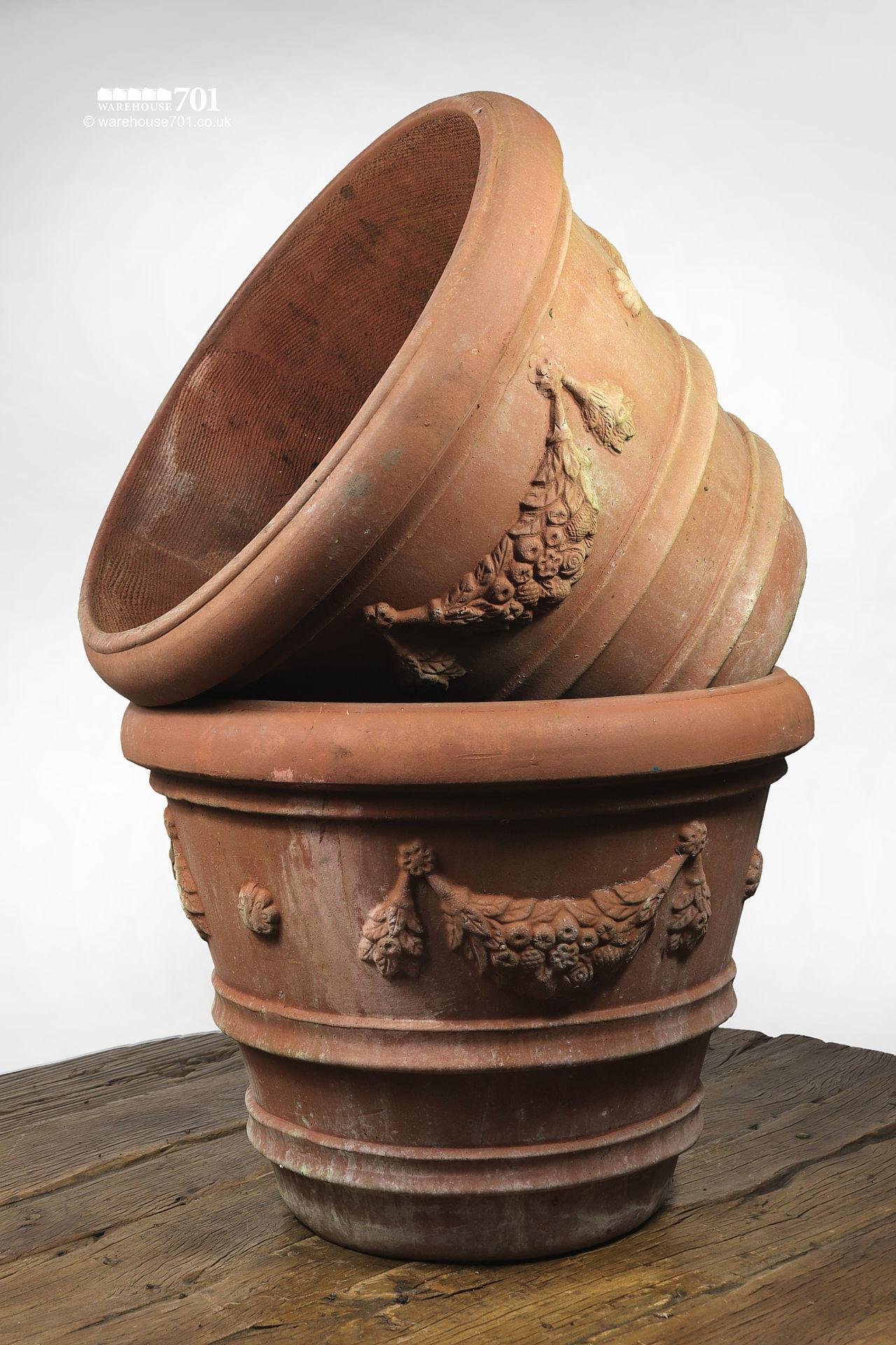 Reclaimed Terracotta Planter with Swag Decor and Double Ribbing