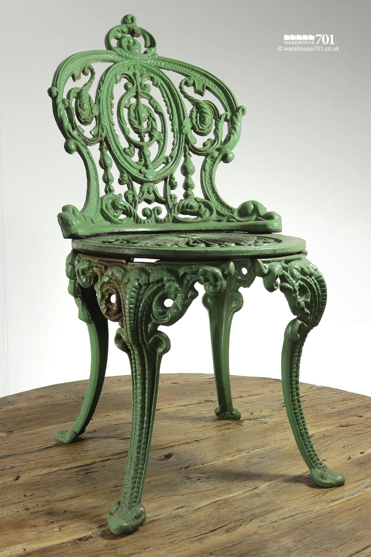 Fabulous Authentic Period Very Heavy Cast Iron Green Garden Chair #2