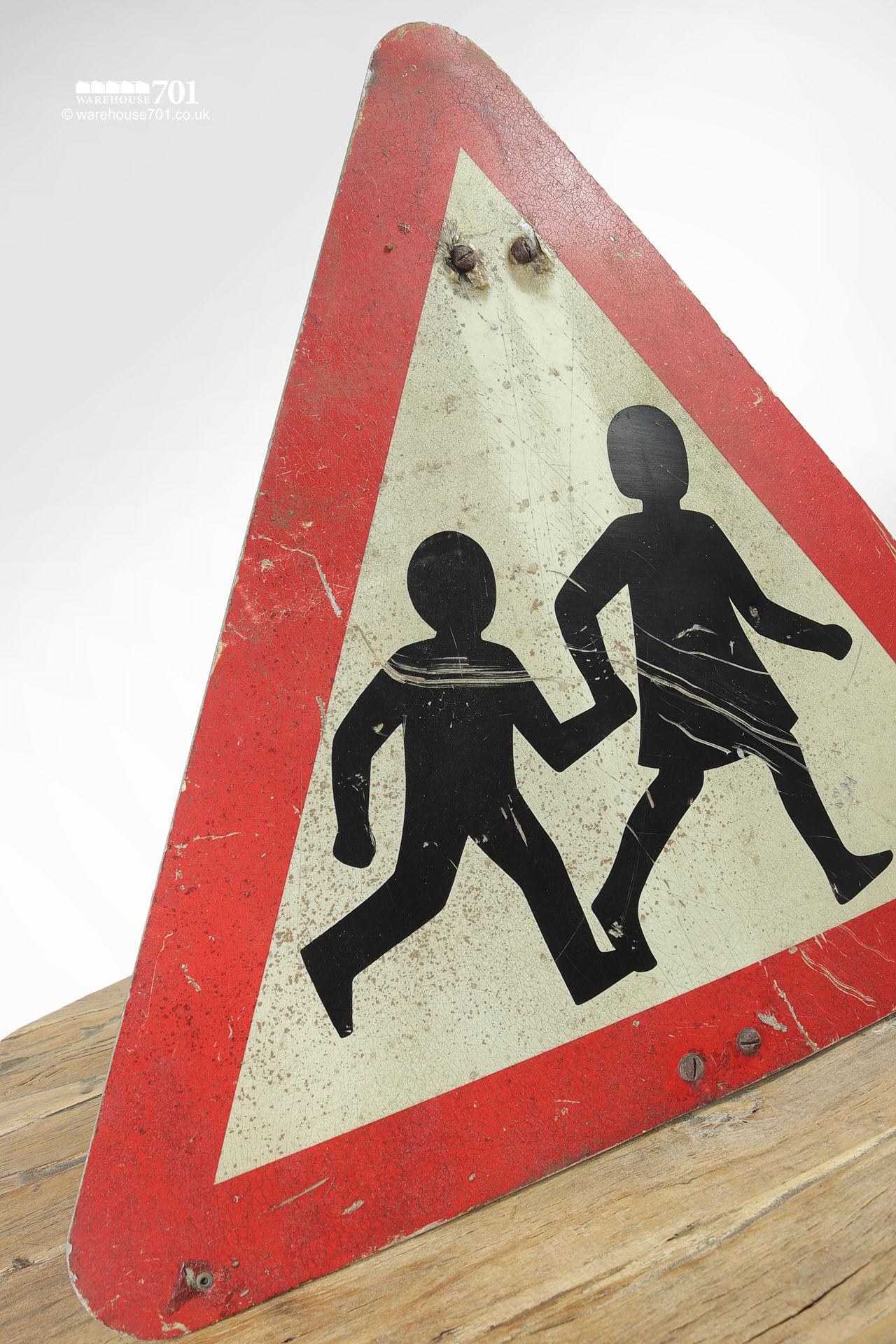 Reclaimed Red and White Children Crossing Road Sign #2