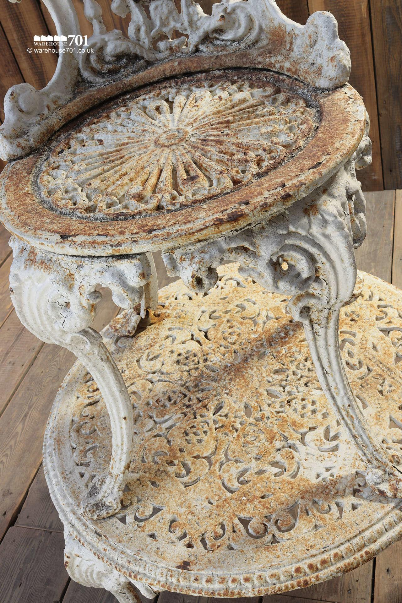 Antique Heavy Cast Iron White Garden Table and Chair #3