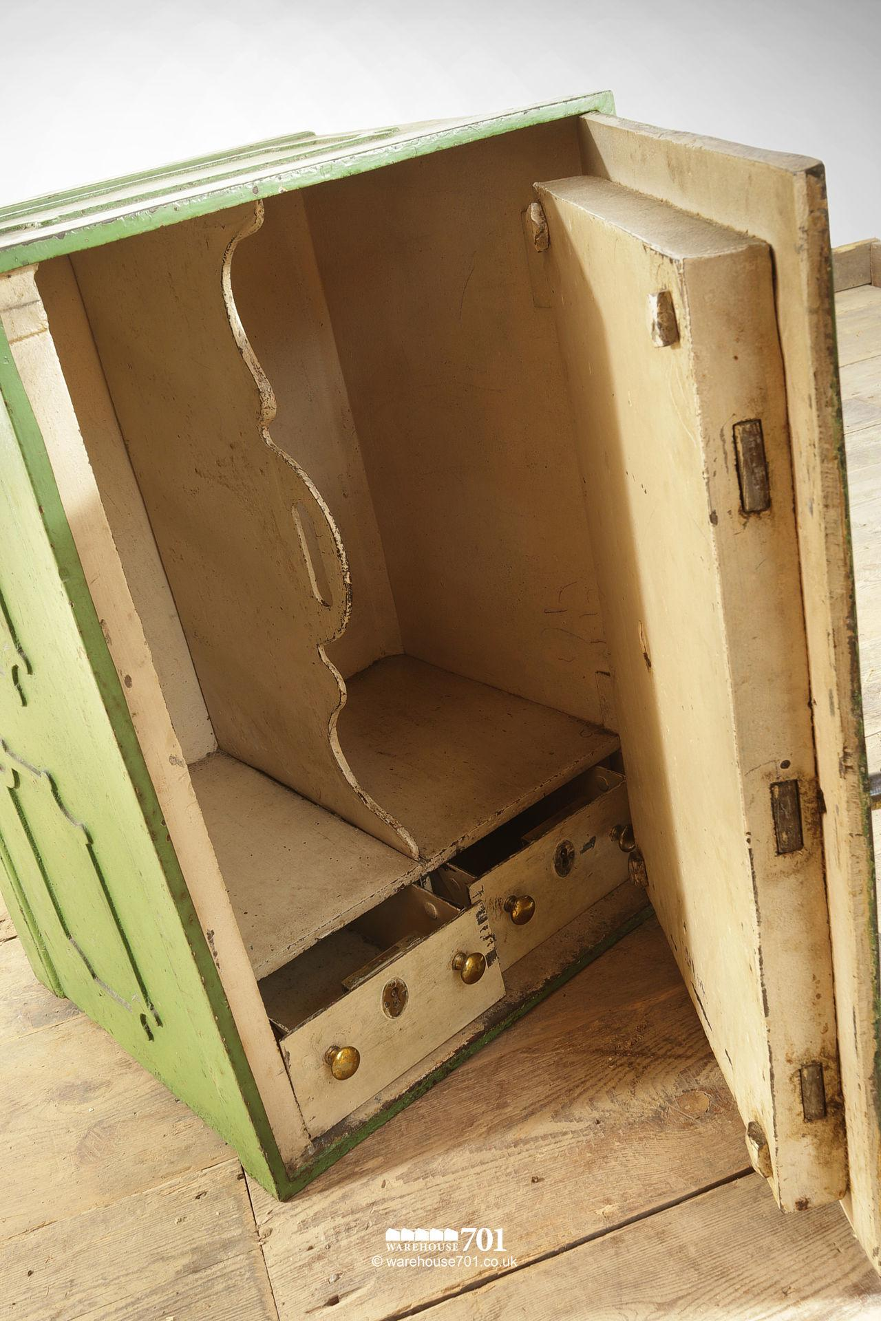 Salvaged Iron Green Painted Safe with Divider, Drawers and Key #6