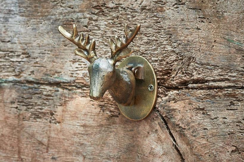 NEW Stag Design Door Knocker in Antique Black or Brass