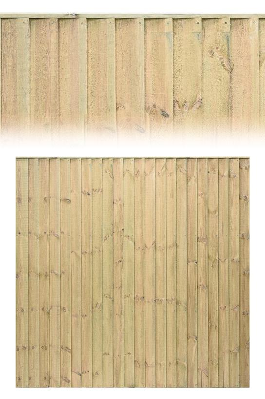Standard Green Featheredge or Close Board Timber Fence Panel