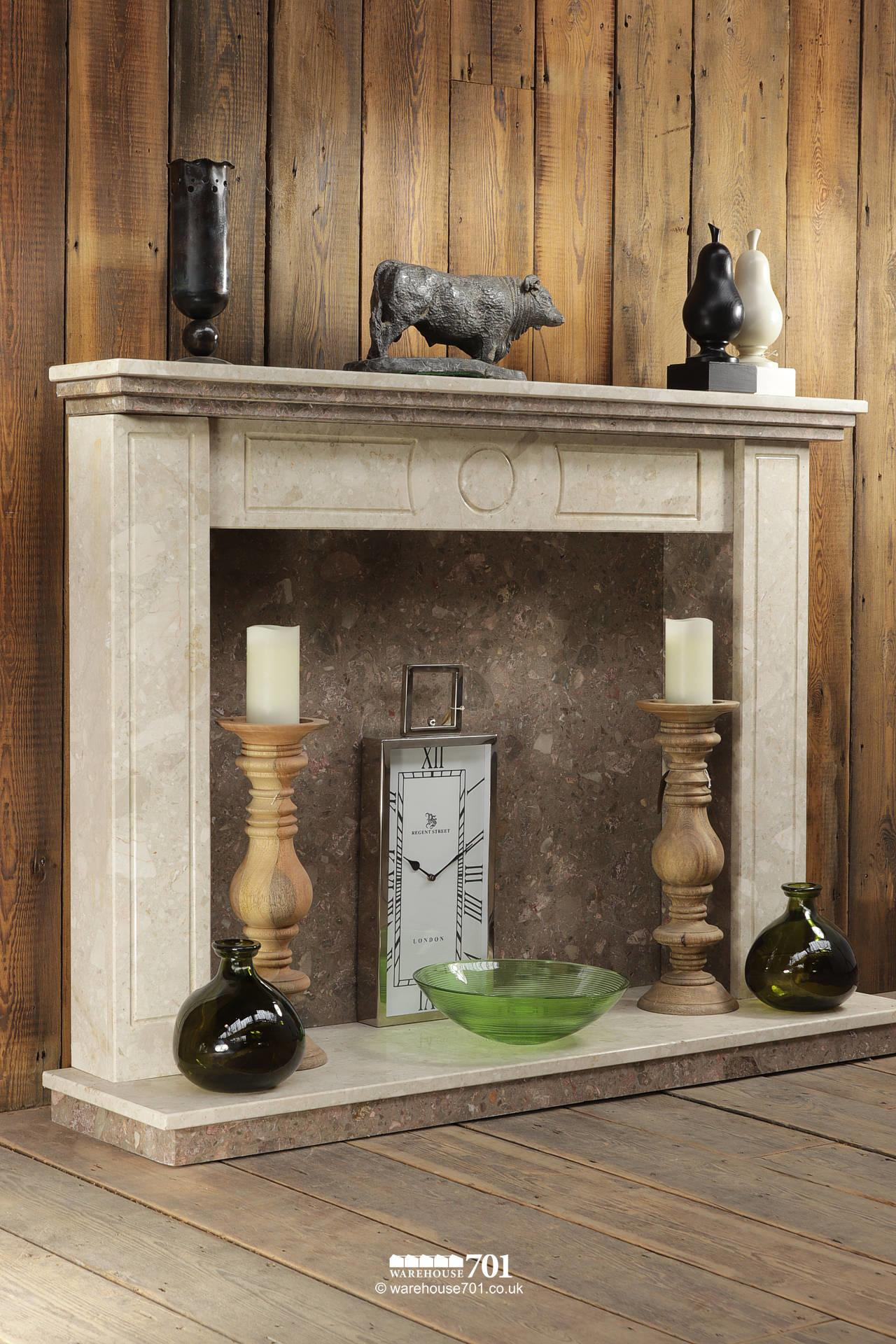 Reclaimed Marble Fire Surround, Mantle, Hearth and Inset