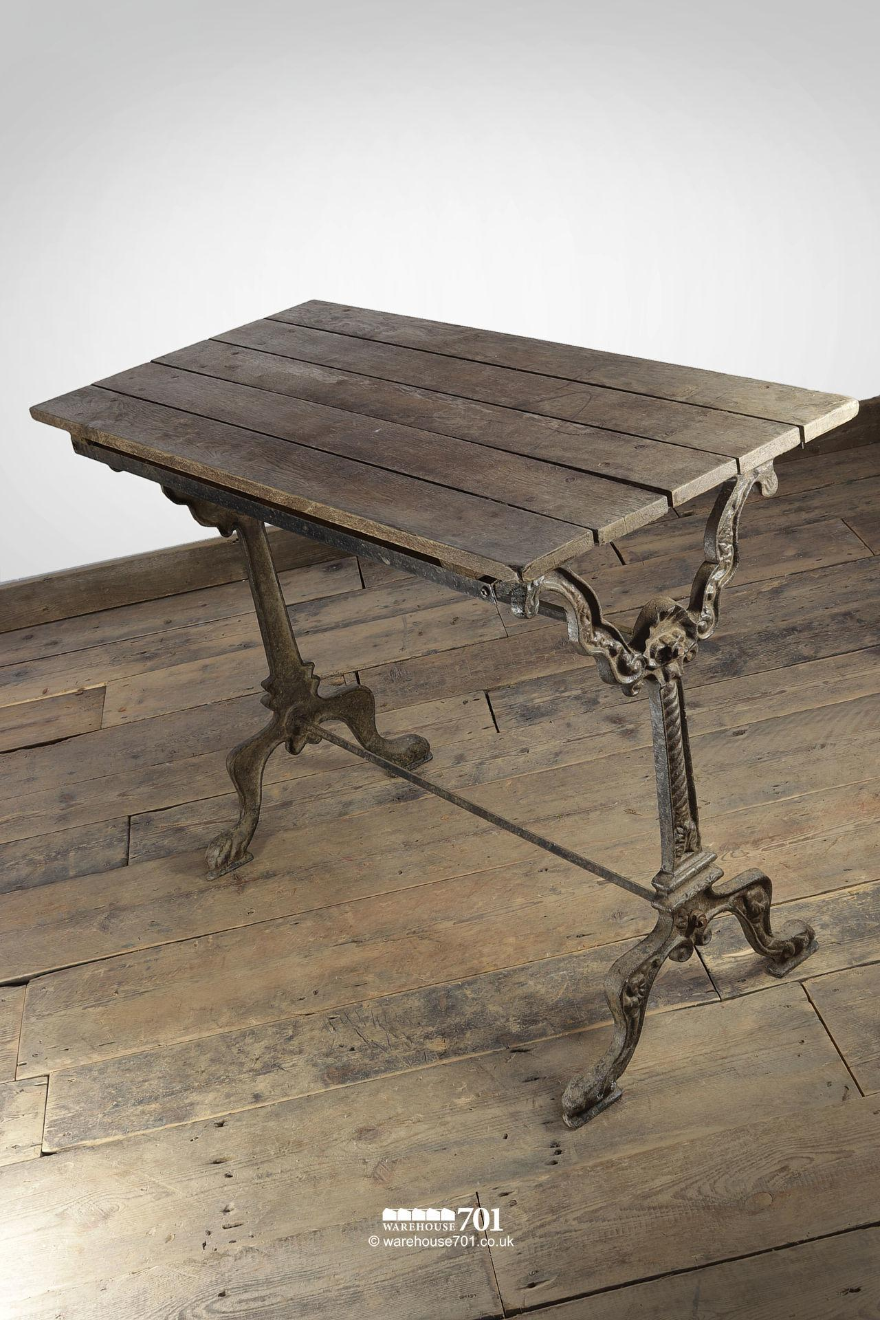 Reclaimed Oak Top Decorative Cast Iron Base Table #5