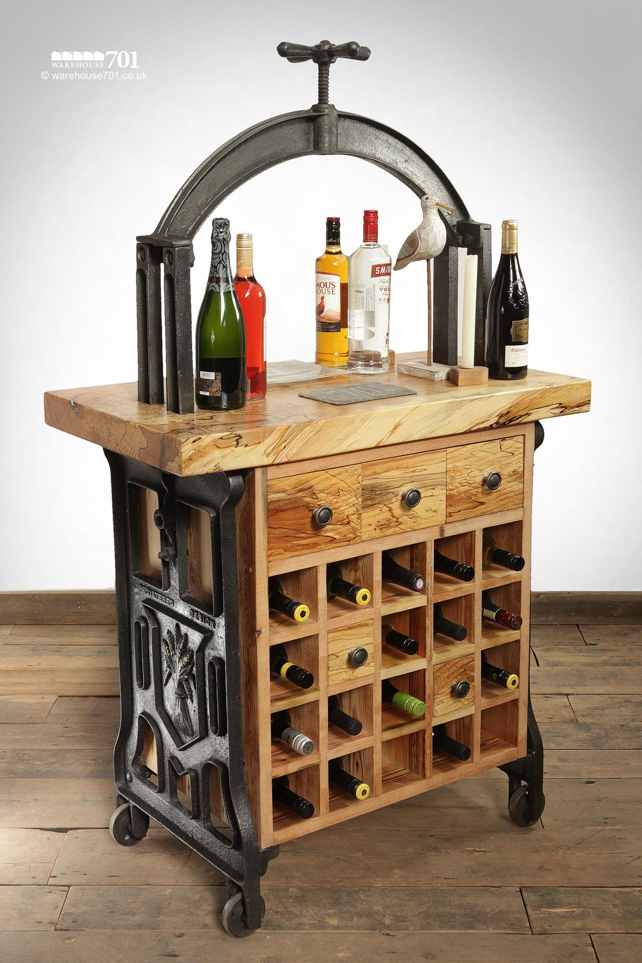 Unique Hand-Crafted Cast Iron and Beech 'Silenus' Wine Station