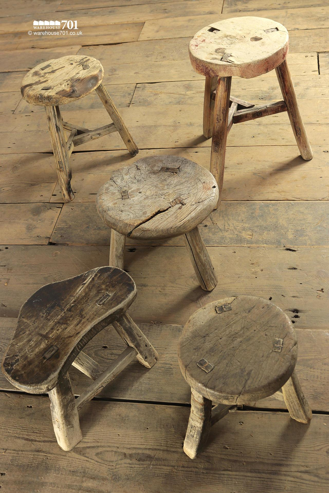 Reclaimed Elm Small Three and Four legged Milking Stools #2