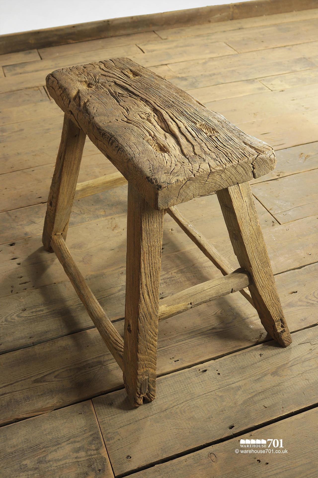 Assorted Reclaimed Elm Large Four Legged Stools