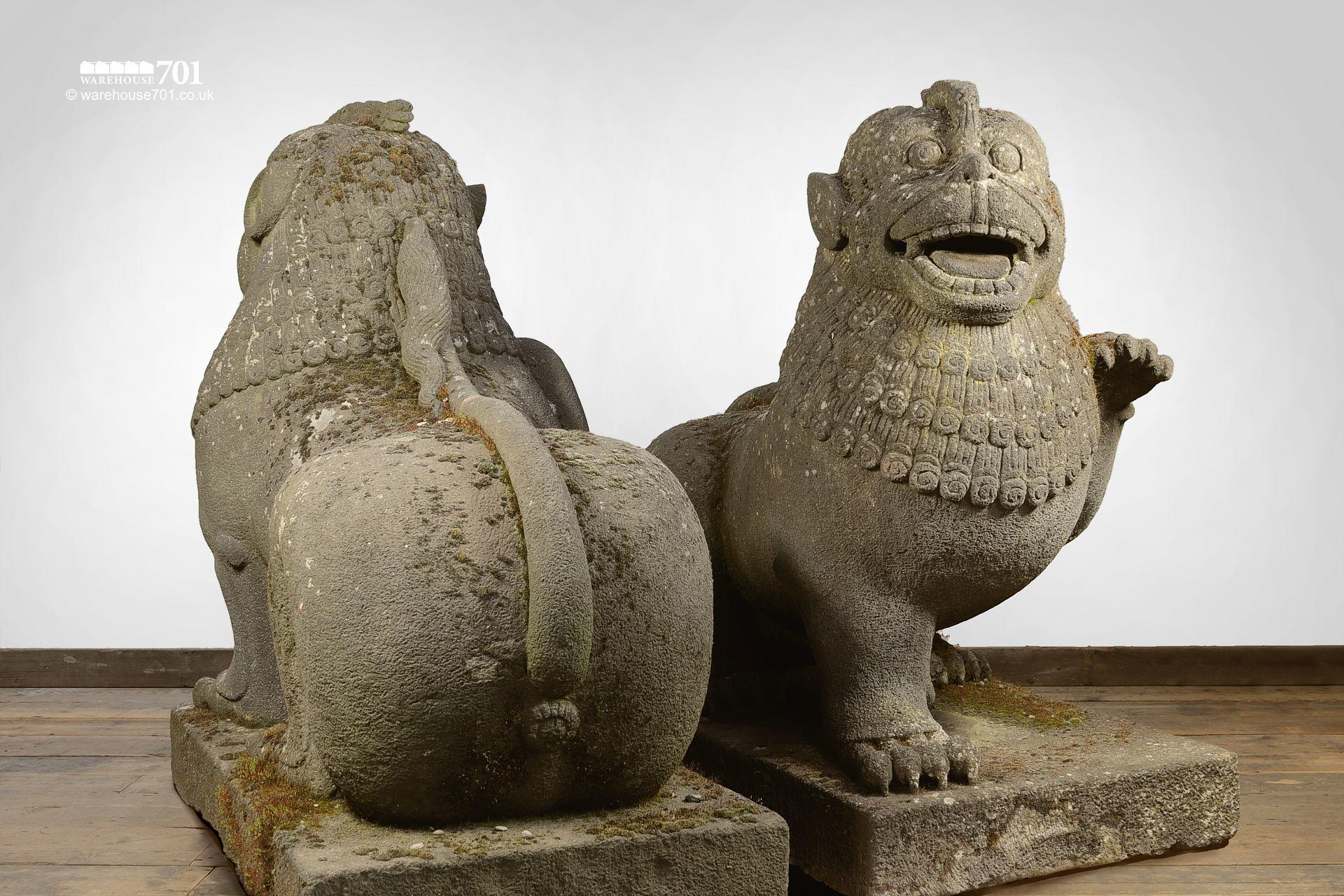 Pair of Hand Carved Indonesian Stone Temple Lions #3