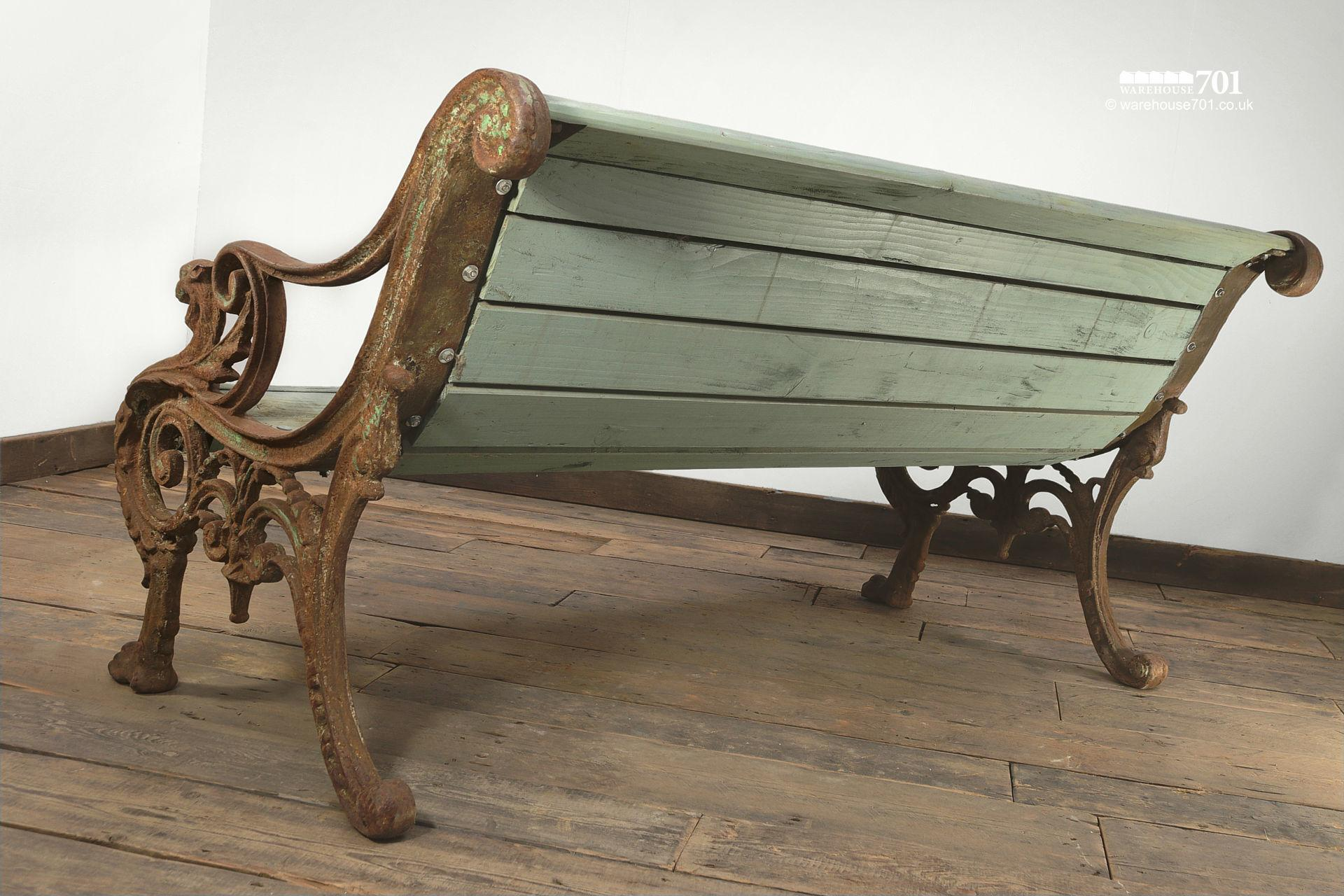 Stunning Reclaimed Cast Iron Dragon Bench #4