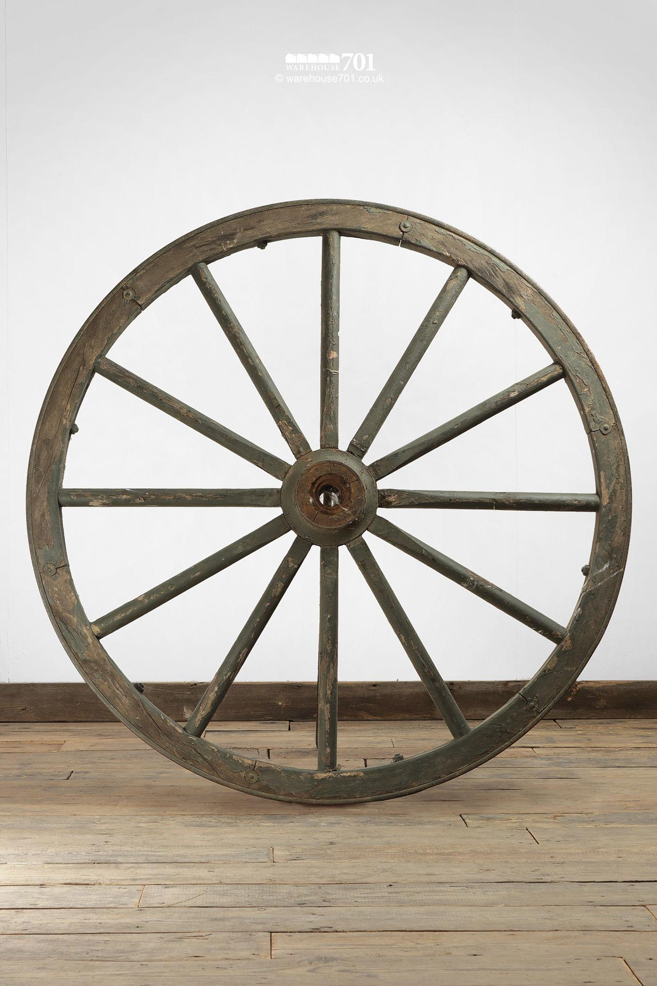 Old Green Painted Iron Rim Waggon Wheels #4