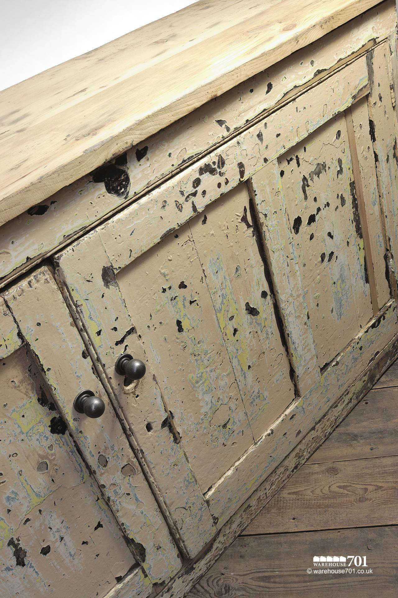 Beautiful Old Aged Two Door Painted Wood Sideboard