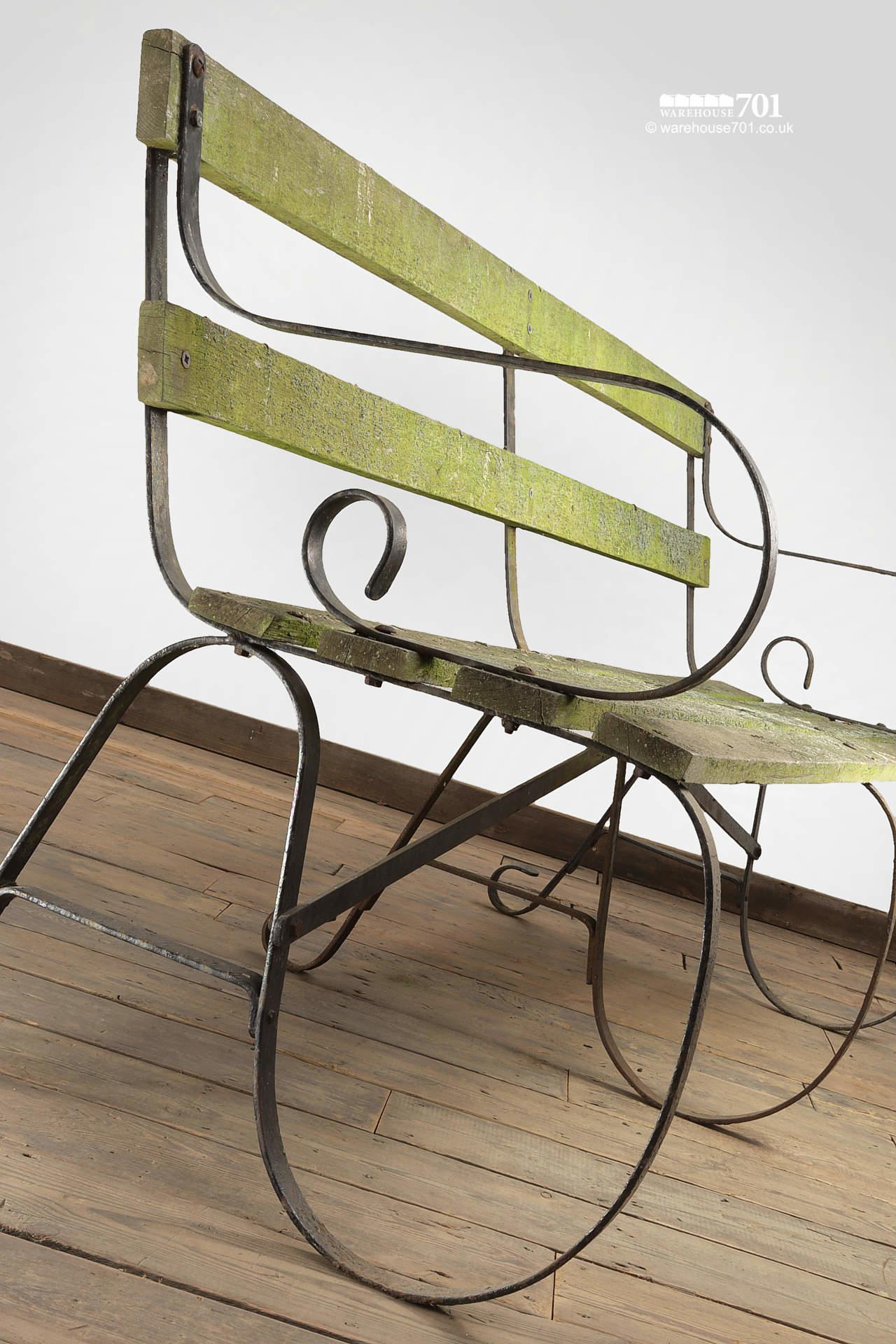 Lovely Old Long Wrought Iron Park or Garden Bench