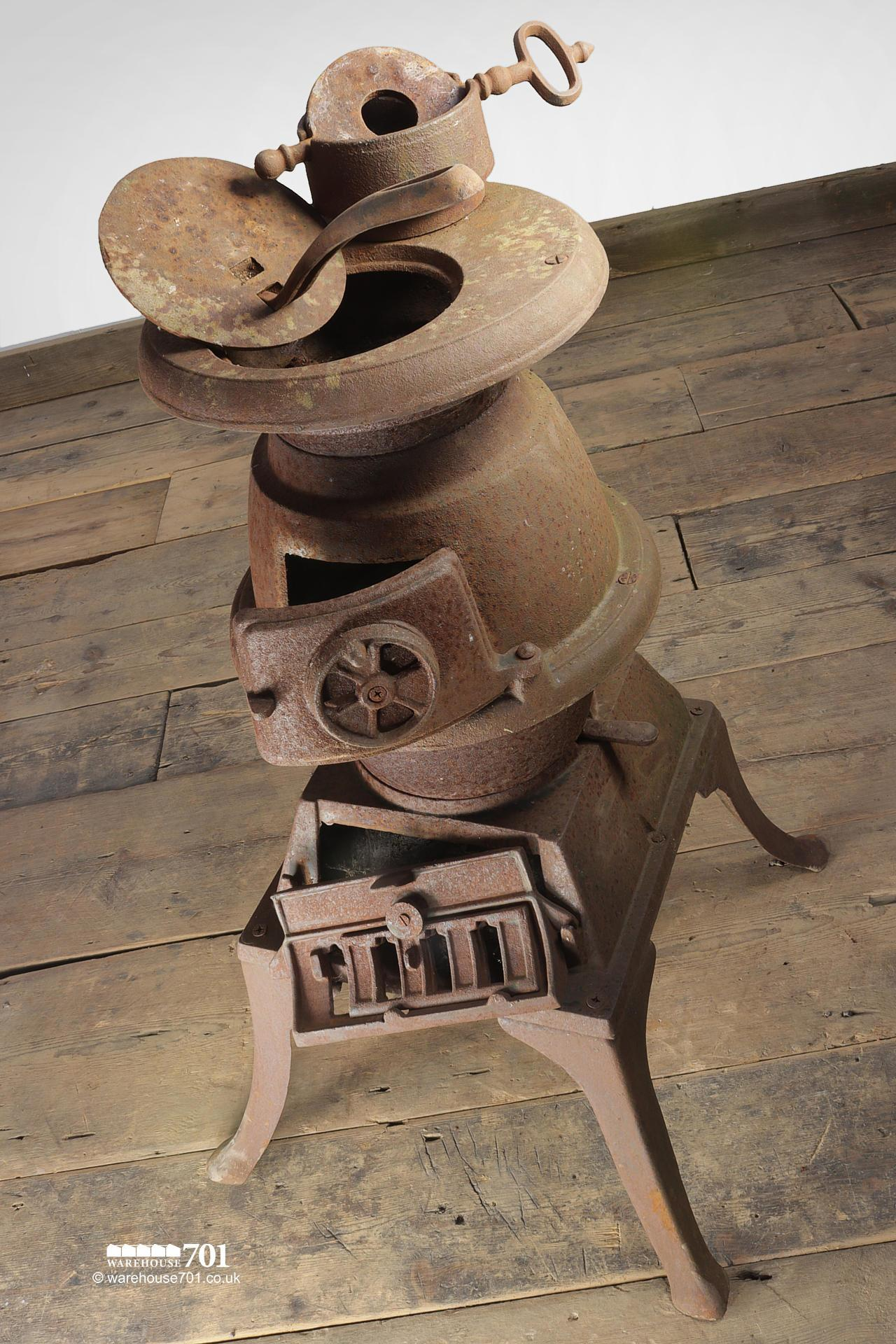 Old Cast Iron Pot Belly Stove with Flue #4