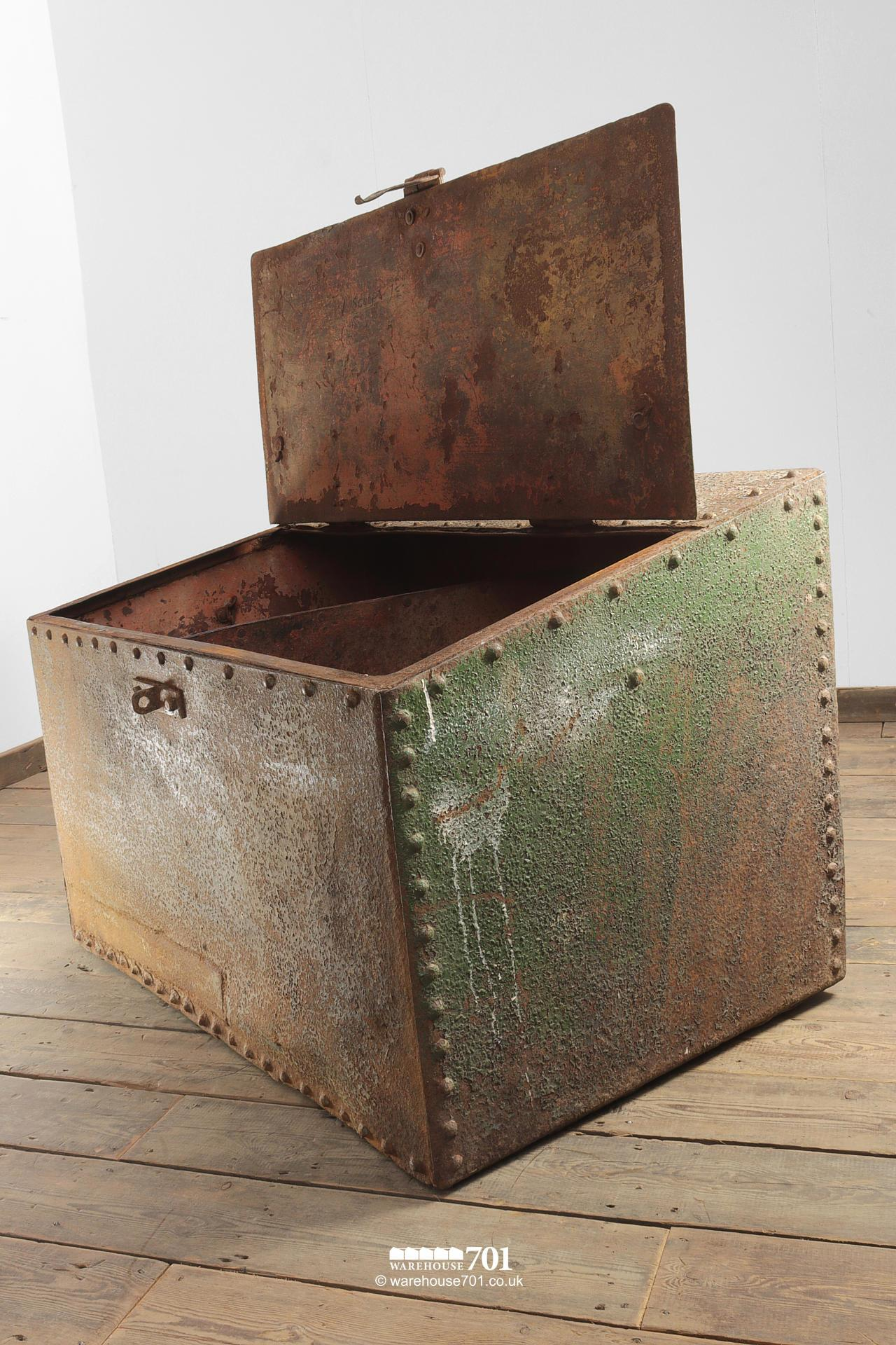Large Green Reclaimed Riveted Double Feed Bin #2