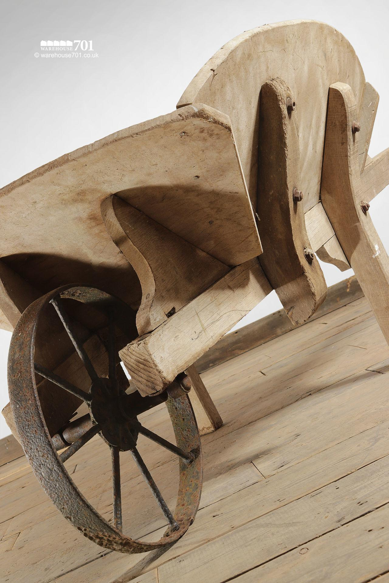 Salvaged Old-Fashioned Wood Wheelbarrow with Iron Wheel
