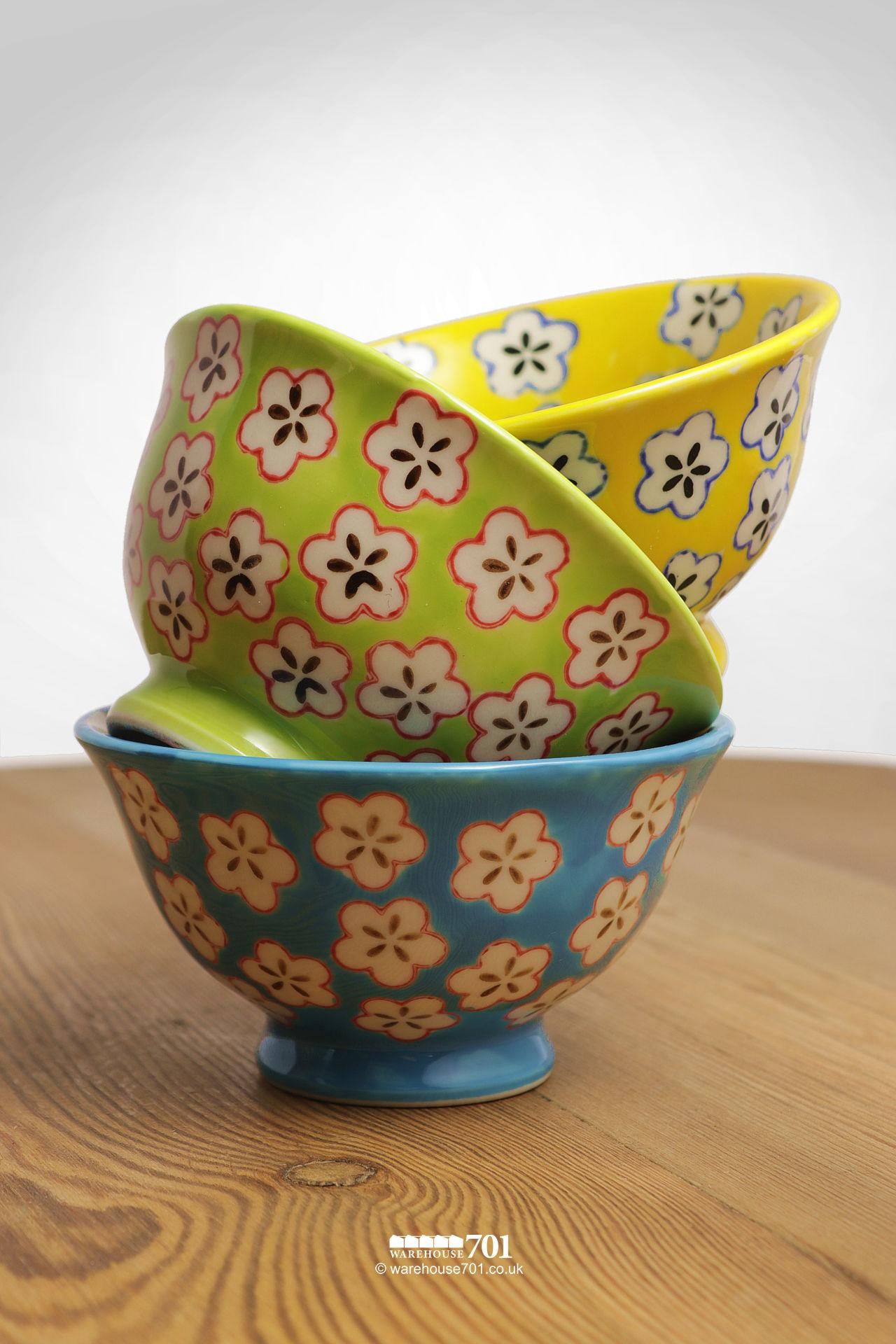 Yellow, Green and Blue Small Petal Bowls or Dishes #2