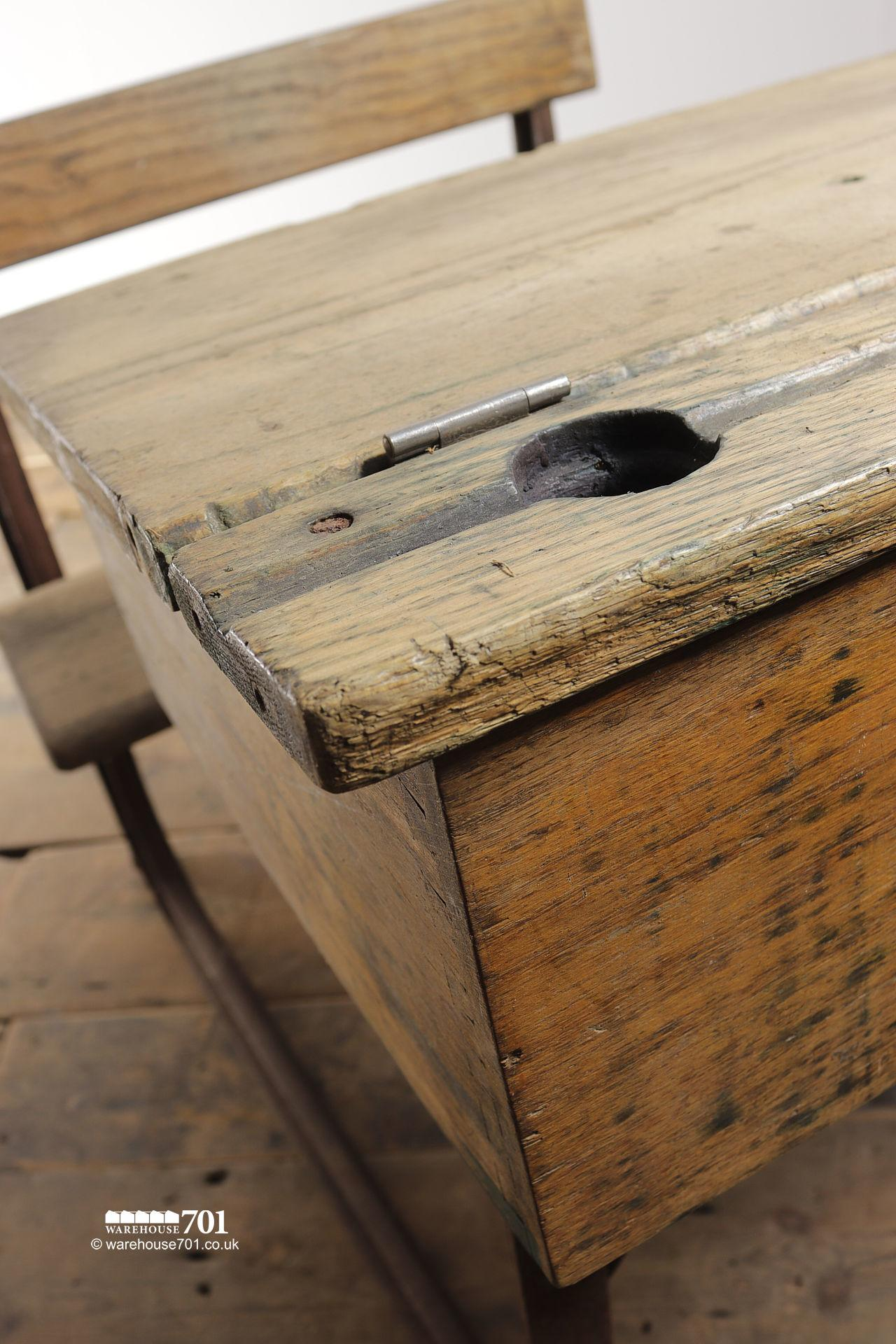 Reclaimed Wooden Childs School Desk and Seat #8